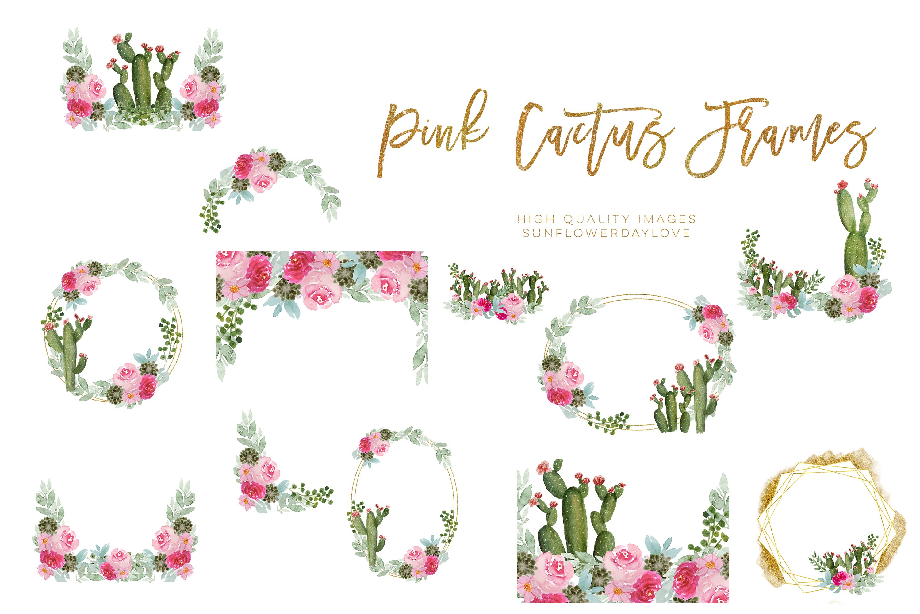 Pink Cactus Geometric Frames, Pink Cactus clipart example image 3