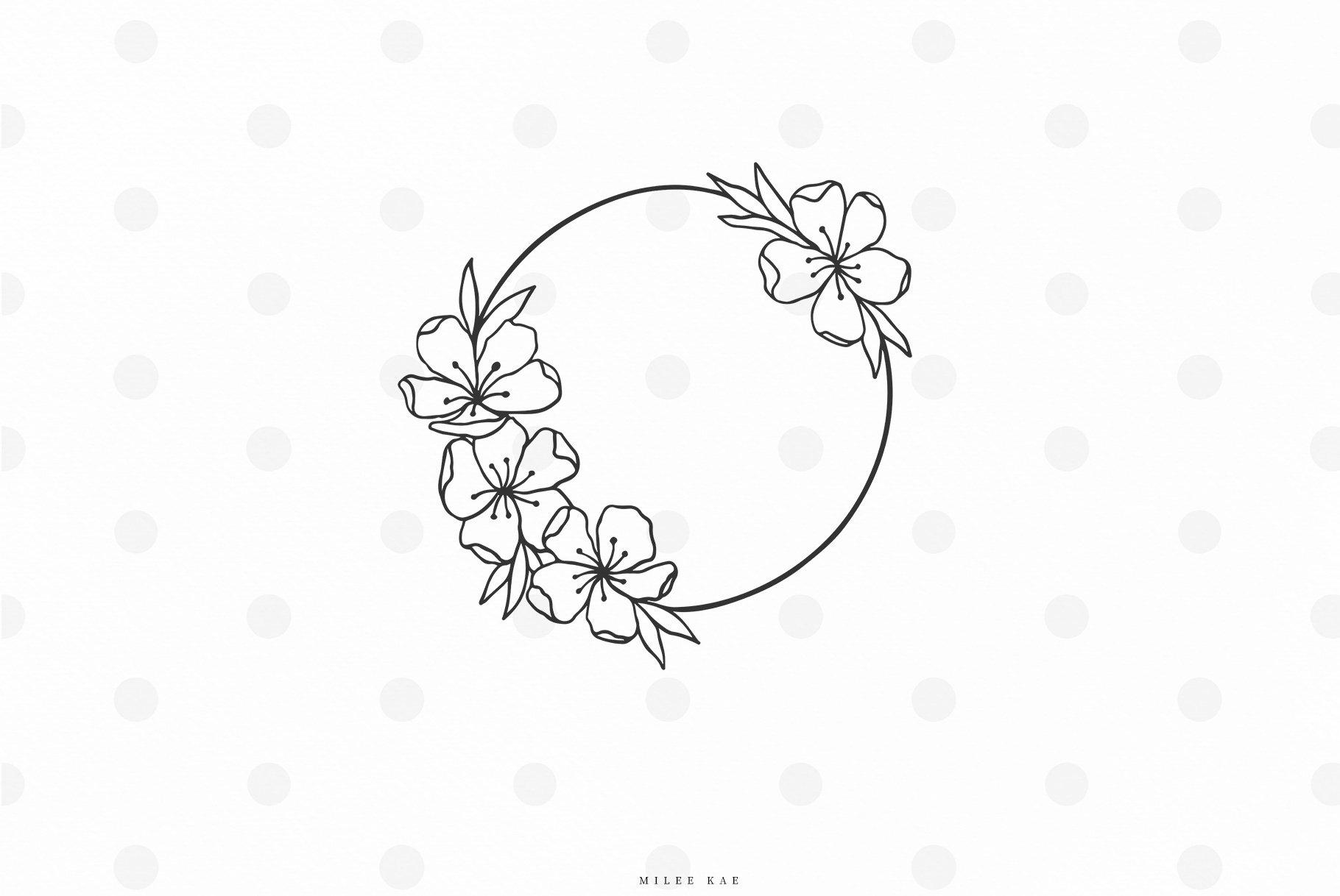 Wildflower monogram svg cut file example image 1