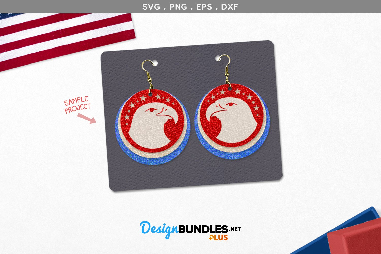 Eagle Round Earrings Template example image 1