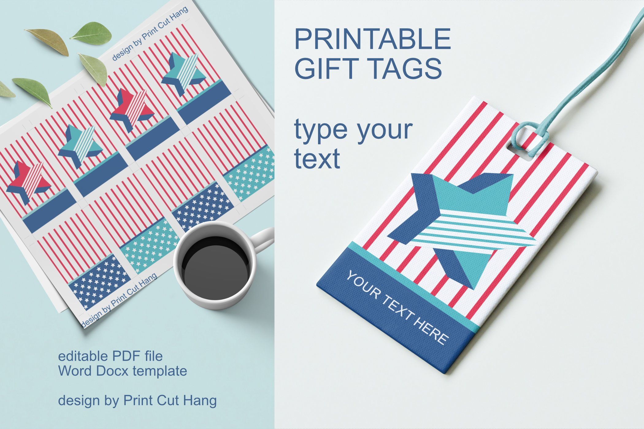Patriotic Tags with Star Printable Editable PDF Tag Template example image 6