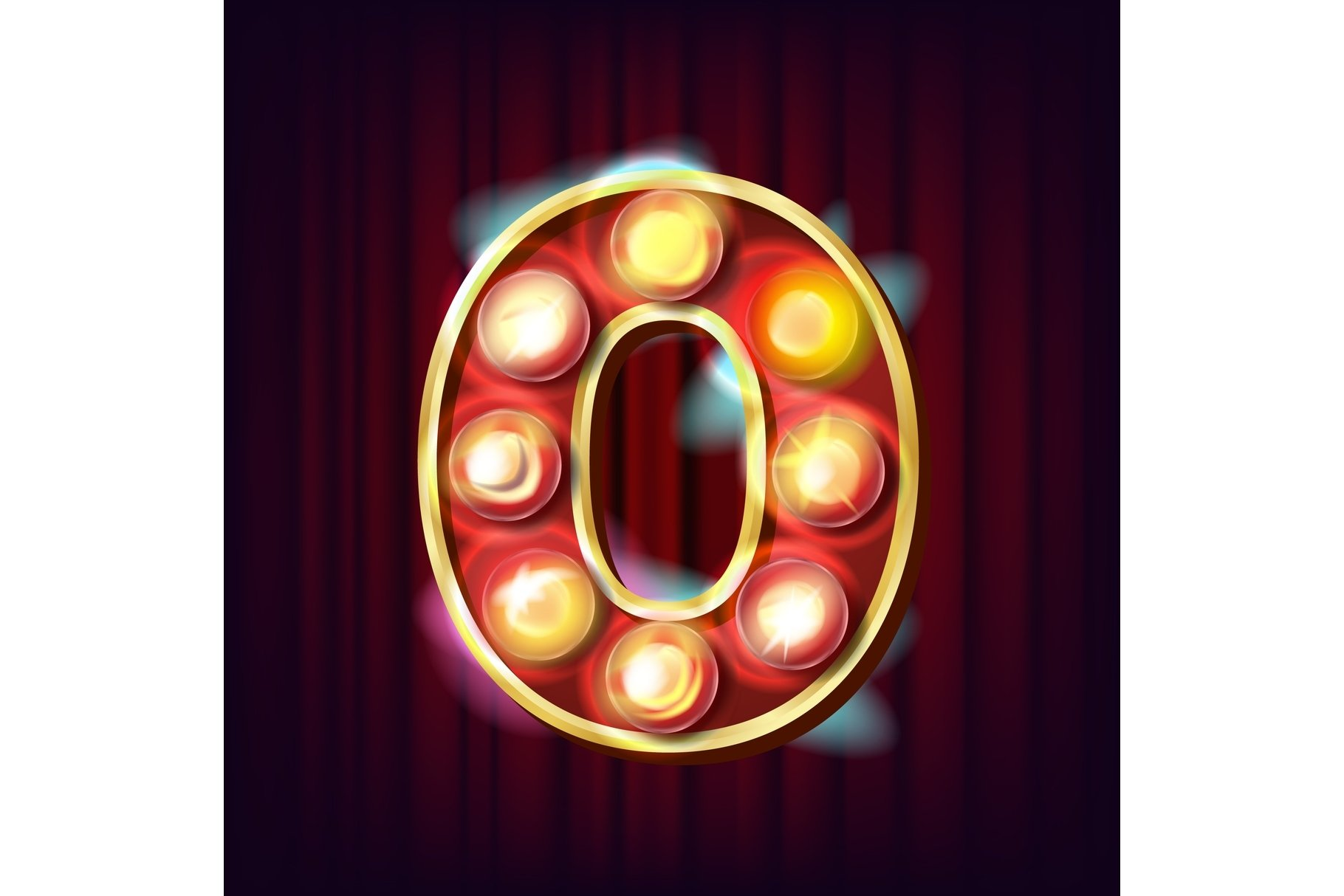 0 Number Vector. Zero Font Marquee Light Sign. Realistic example image 1