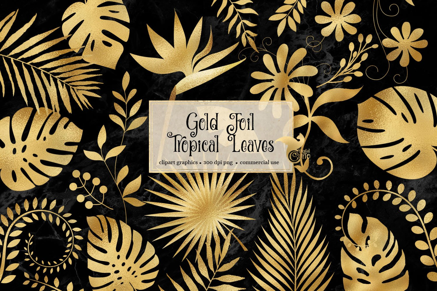 Gold Foil Tropical Leaves Clip Art example image 1
