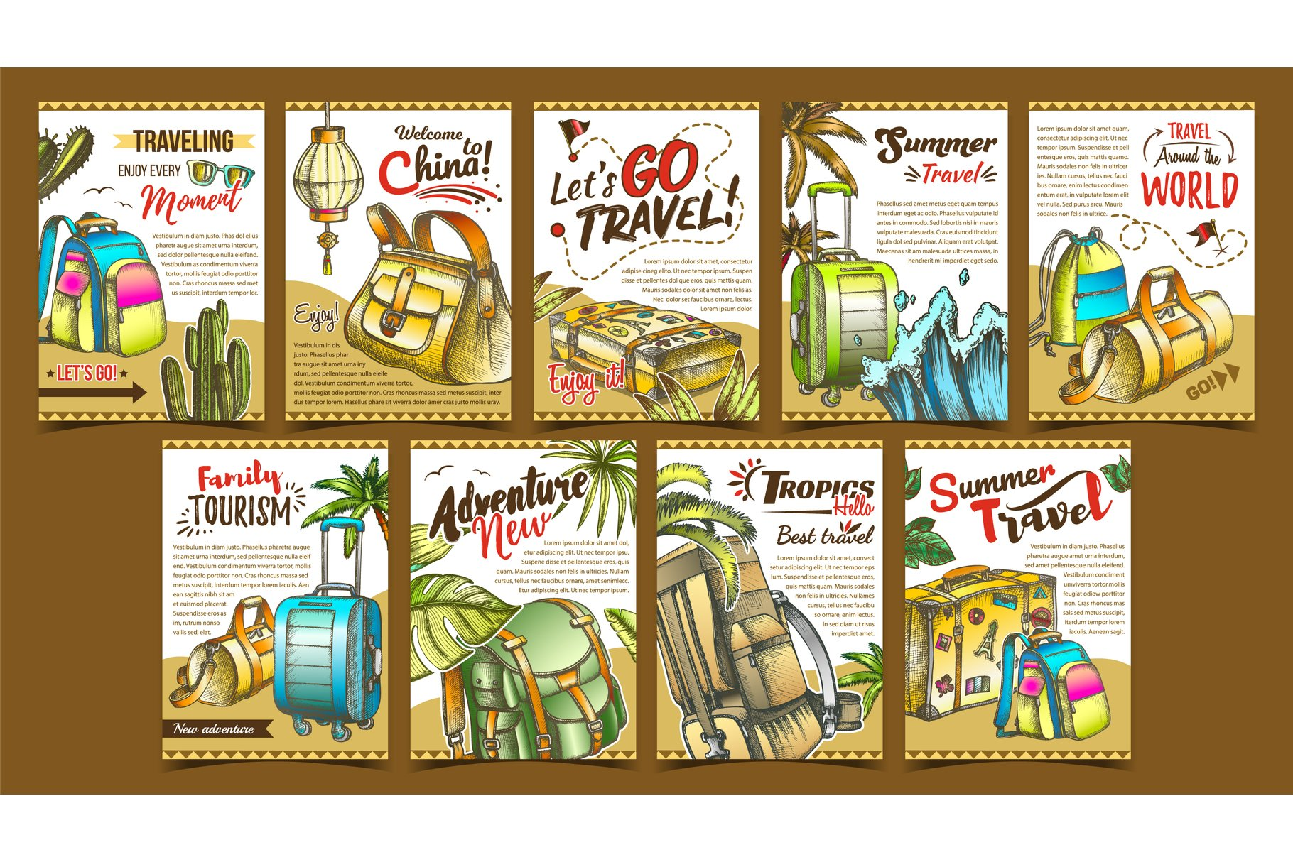 Tropic Summer Travel Collection Posters Set Vector example image 1