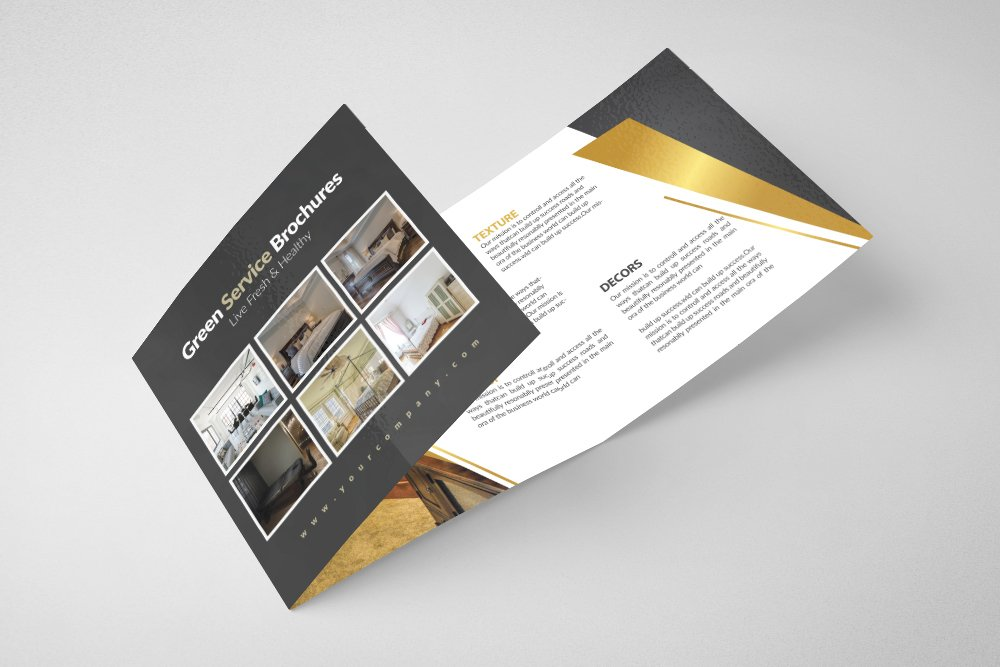 Luxury Hotel Square Trifold Brochure example image 2