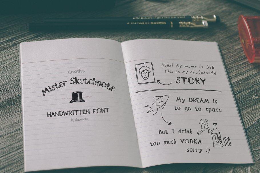 Mister Sketchnote Handwritten Font example image 2