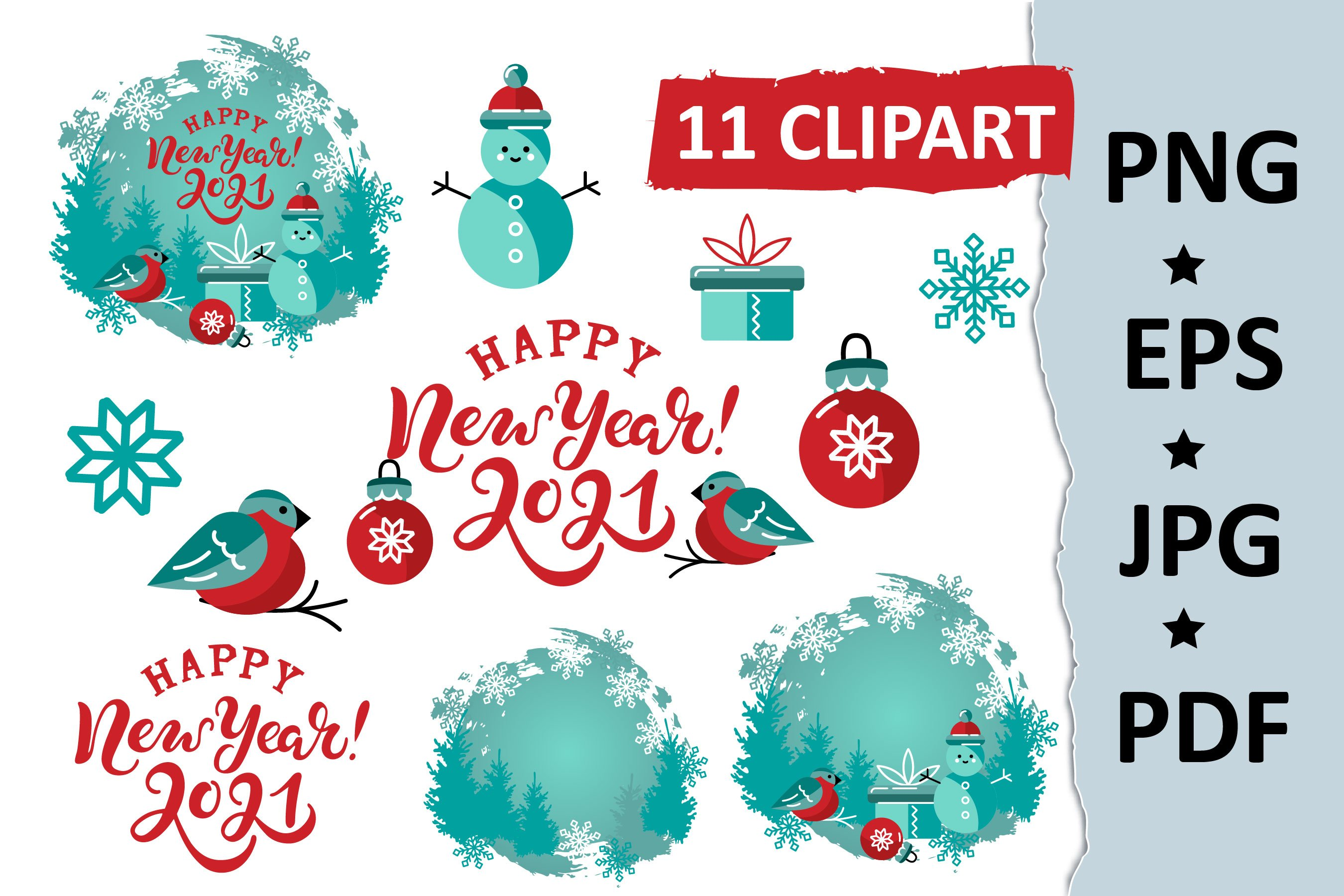 2021 Happy New Year Clipart And Hand Lettered Sign Printable 980322 Elements Design Bundles