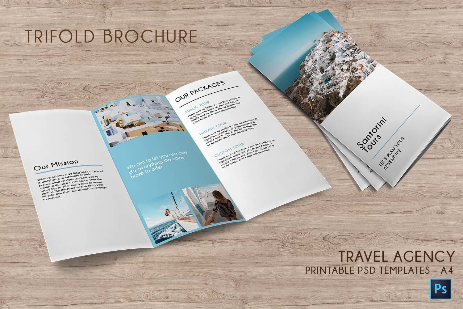 Trifold Agency Travel Brochure Editable PSD Templates example image 1