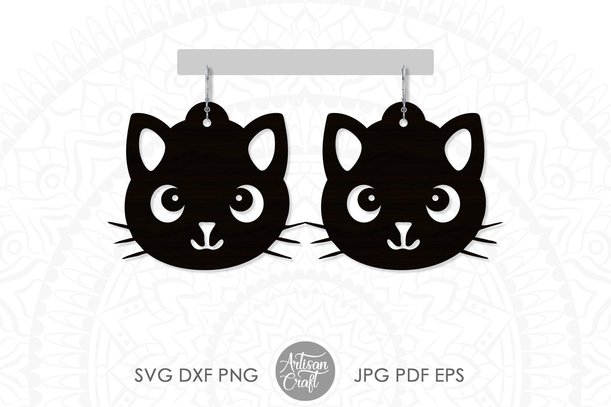 Cat earrings, svg, earrings for kids, cute cat earrings example image 1