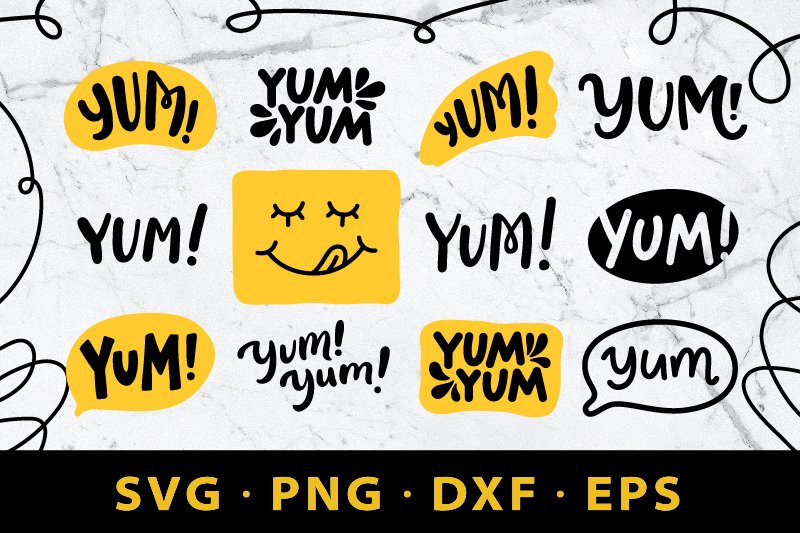 YUM SVG. YUM cute doodle speech bubble. Yummy graphic print example image 1