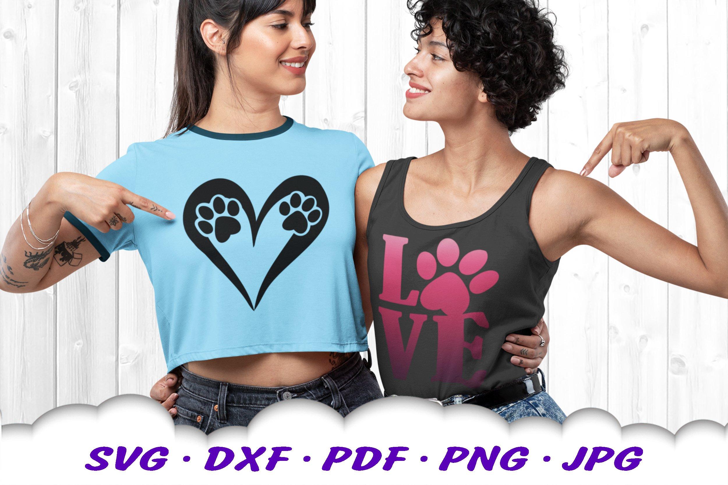 Dog Mom Paw Print Bundle SVG DXF Cut Files example image 4