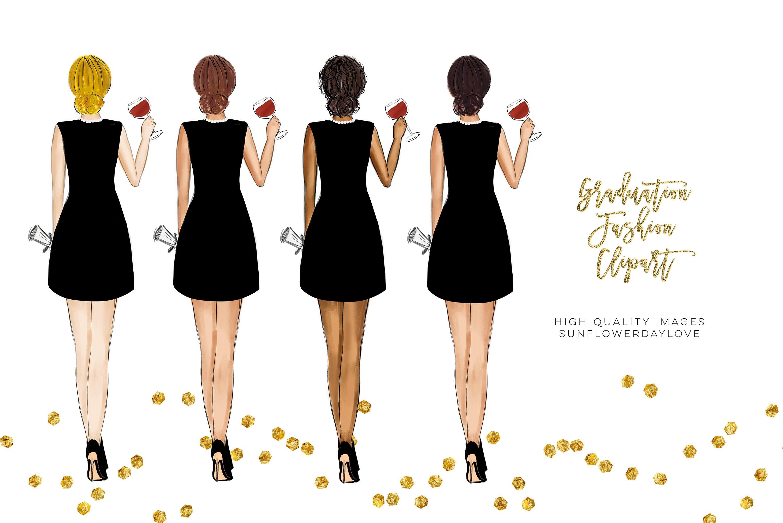 College Senior Graduation Girl Gold Fashion clipart example image 7