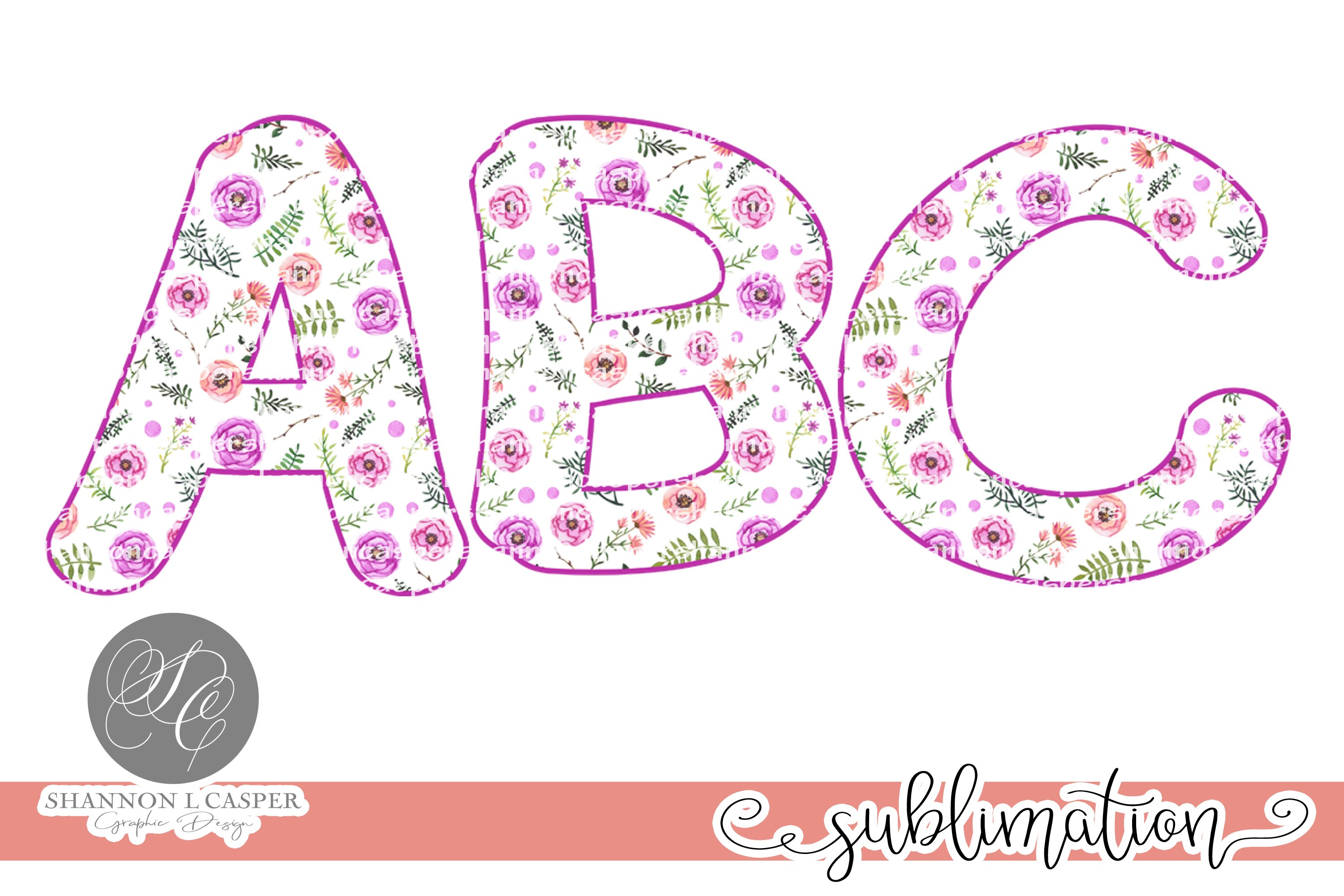 Purple Floral Chunky Font PNG example image 2