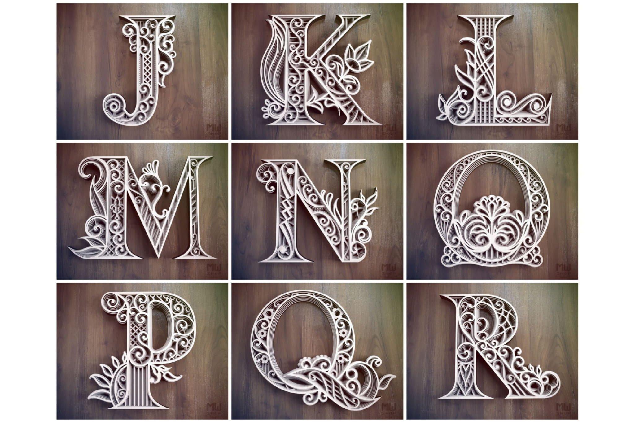 A-Z Layered Letters Bundle, Alphabet letters Bundle example image 6