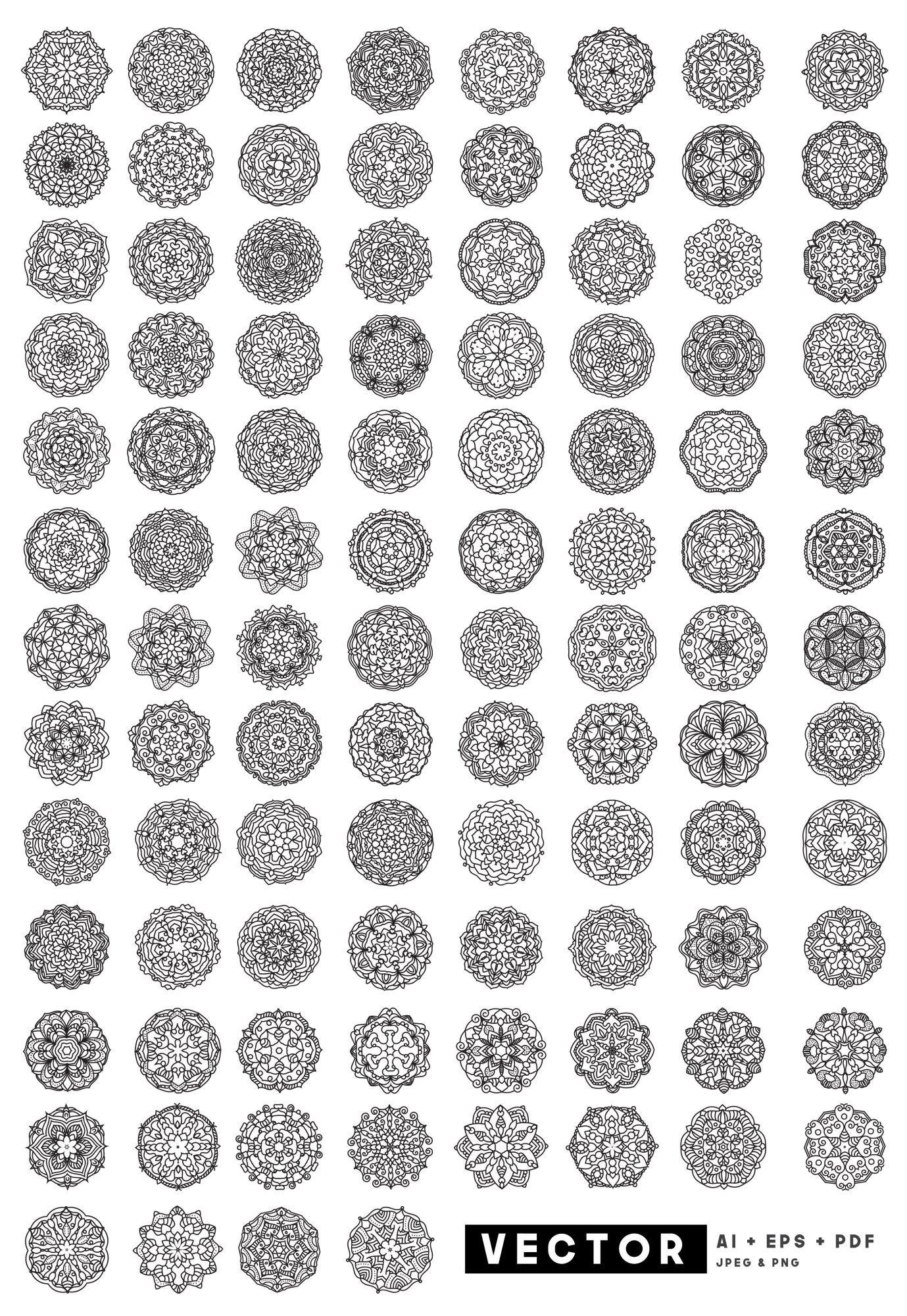 100 Vector Mandala Floral Ornaments example image 2