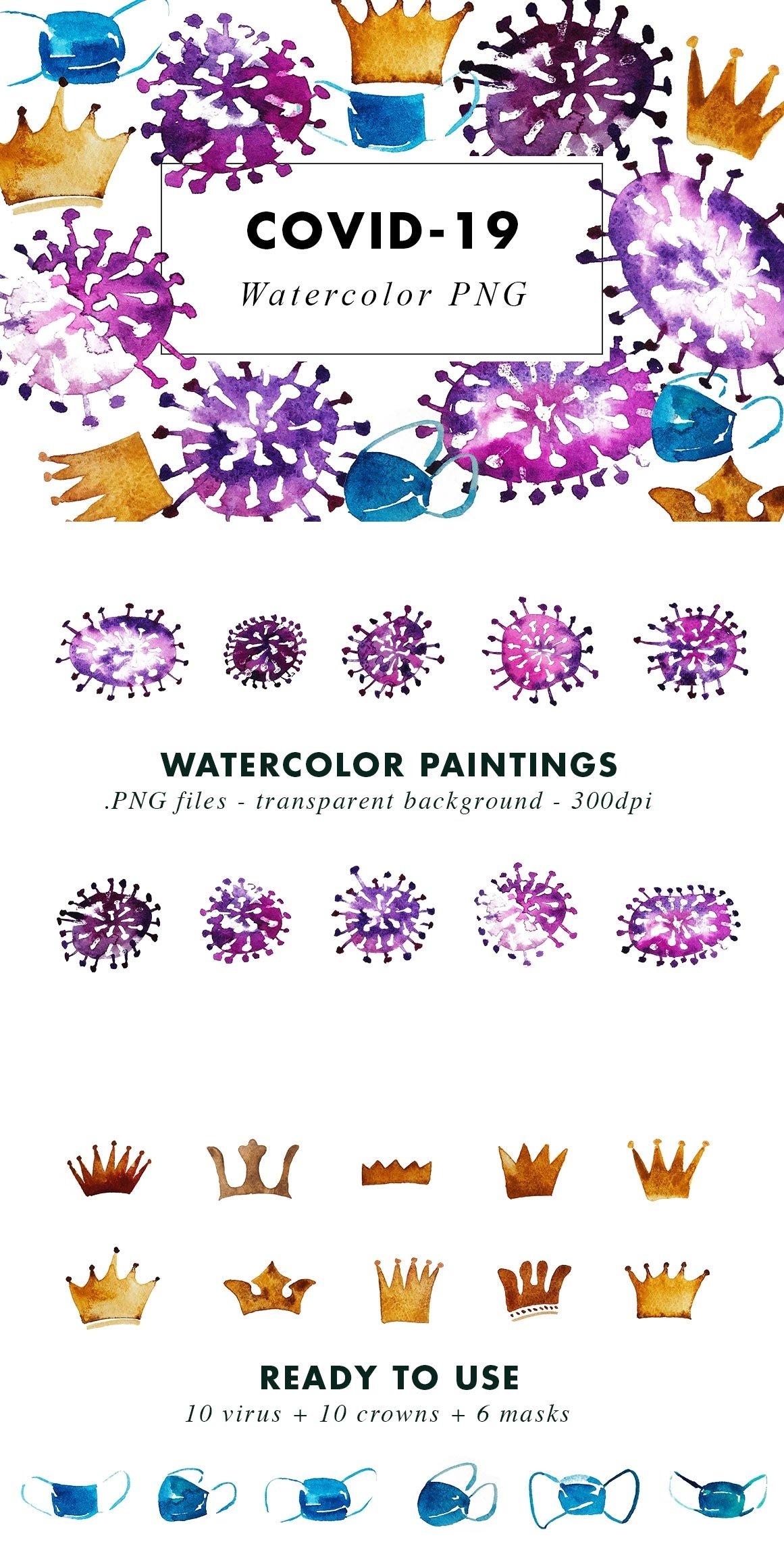 Watercolor Coronavirus Illustrations Covid-19 example image 4