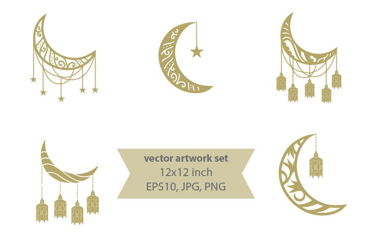 gold crescent moon vector artwork set 820087 elements design bundles gold crescent moon vector artwork set