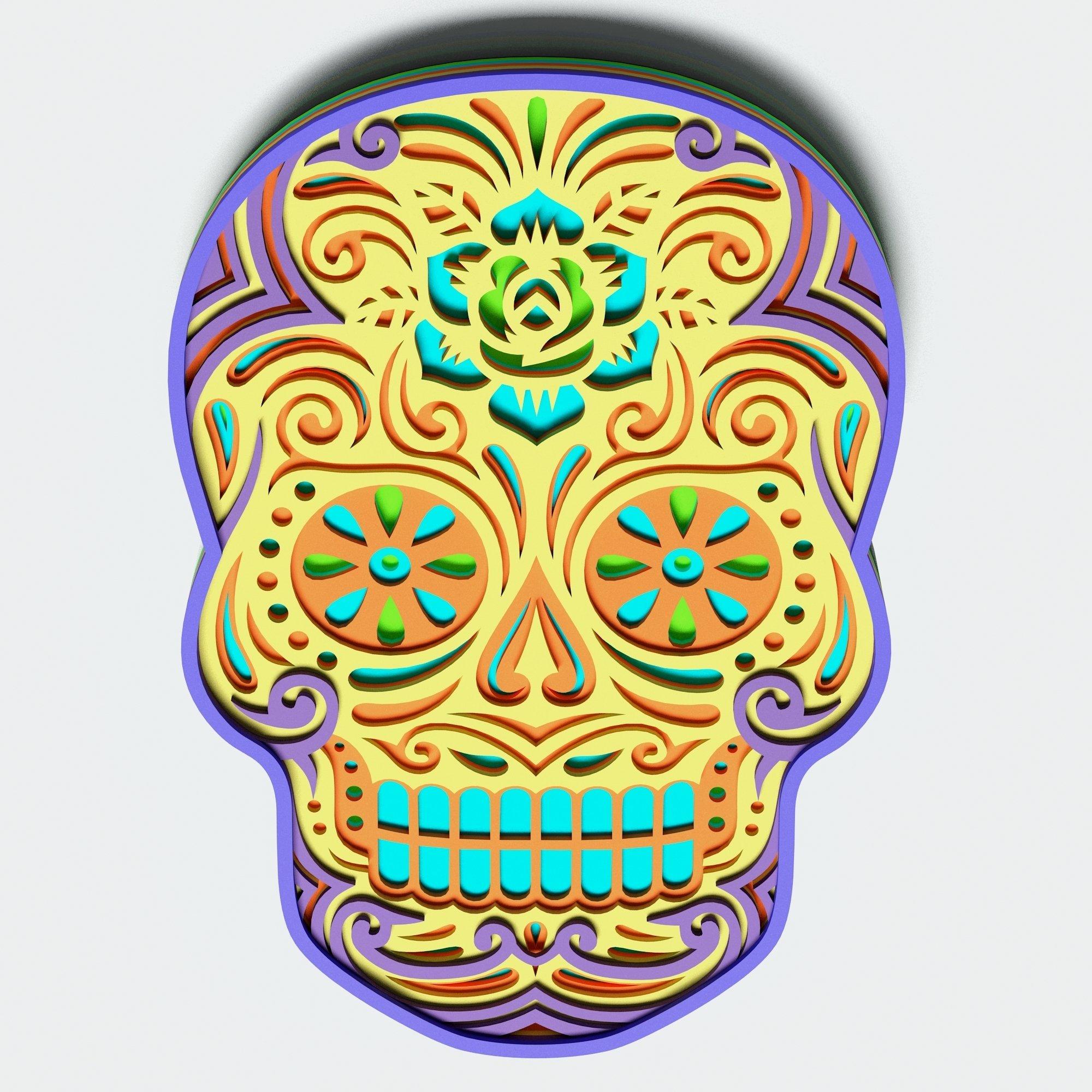 Multilayer Sugar Skull Mandala - S2, for cutting machines example image 6