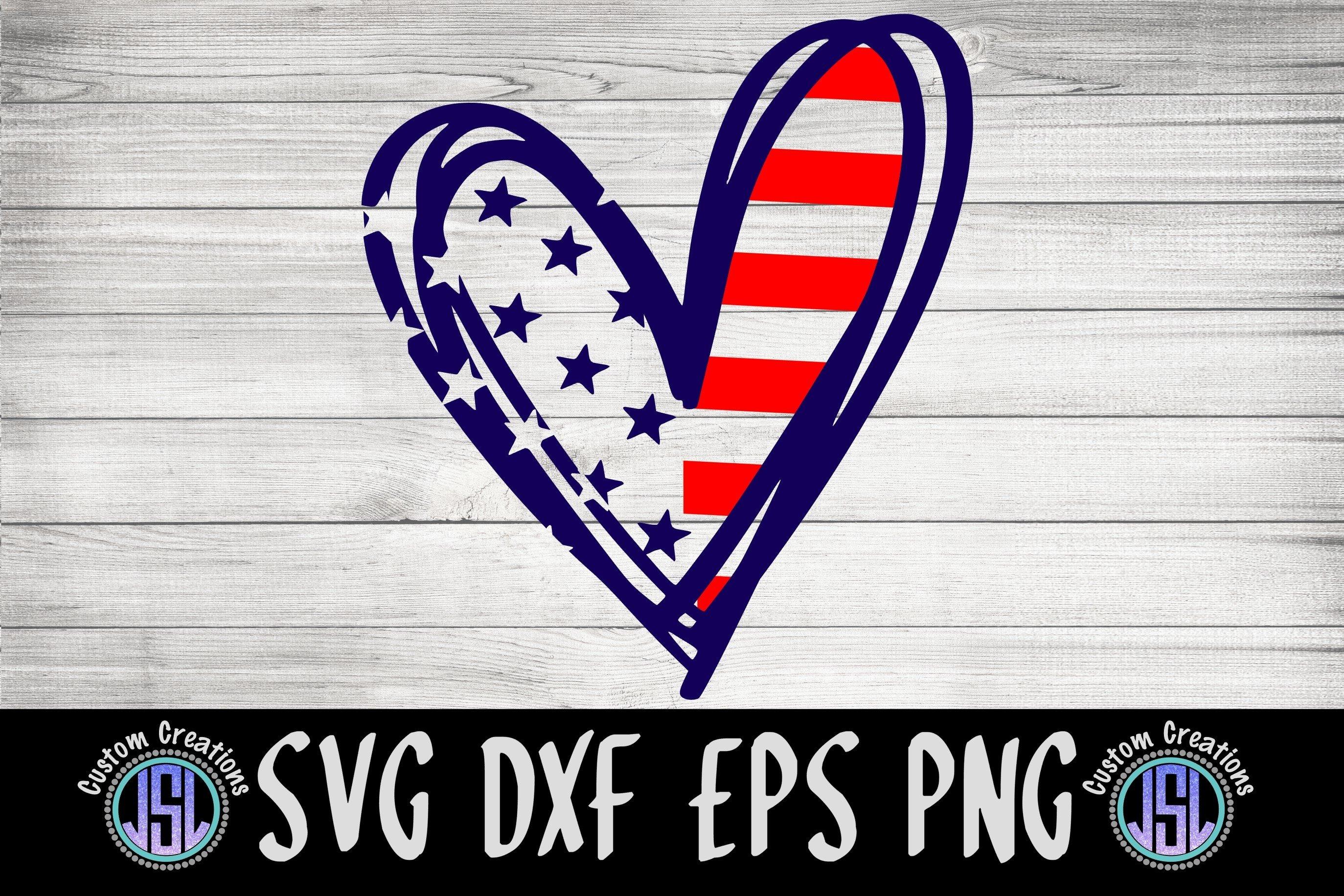 Patriotic Heart | Patriotic SVG Cut File | SVG DXF EPS PNG example image 2