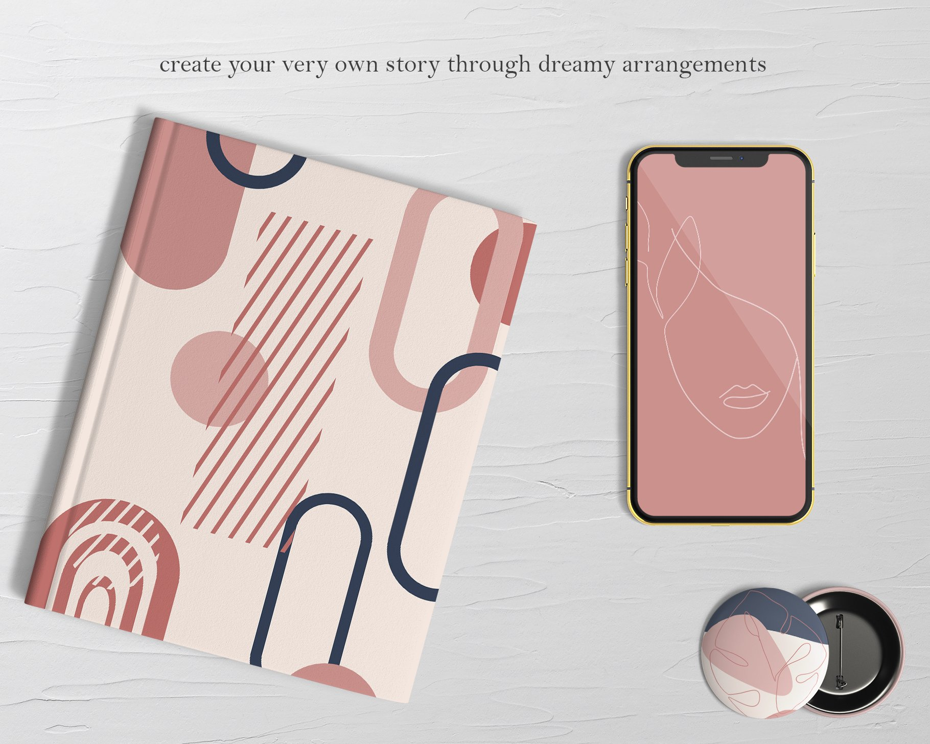 Abstract Collection CREAMY BlUSH & NAVY BLUE bundle prints example image 9
