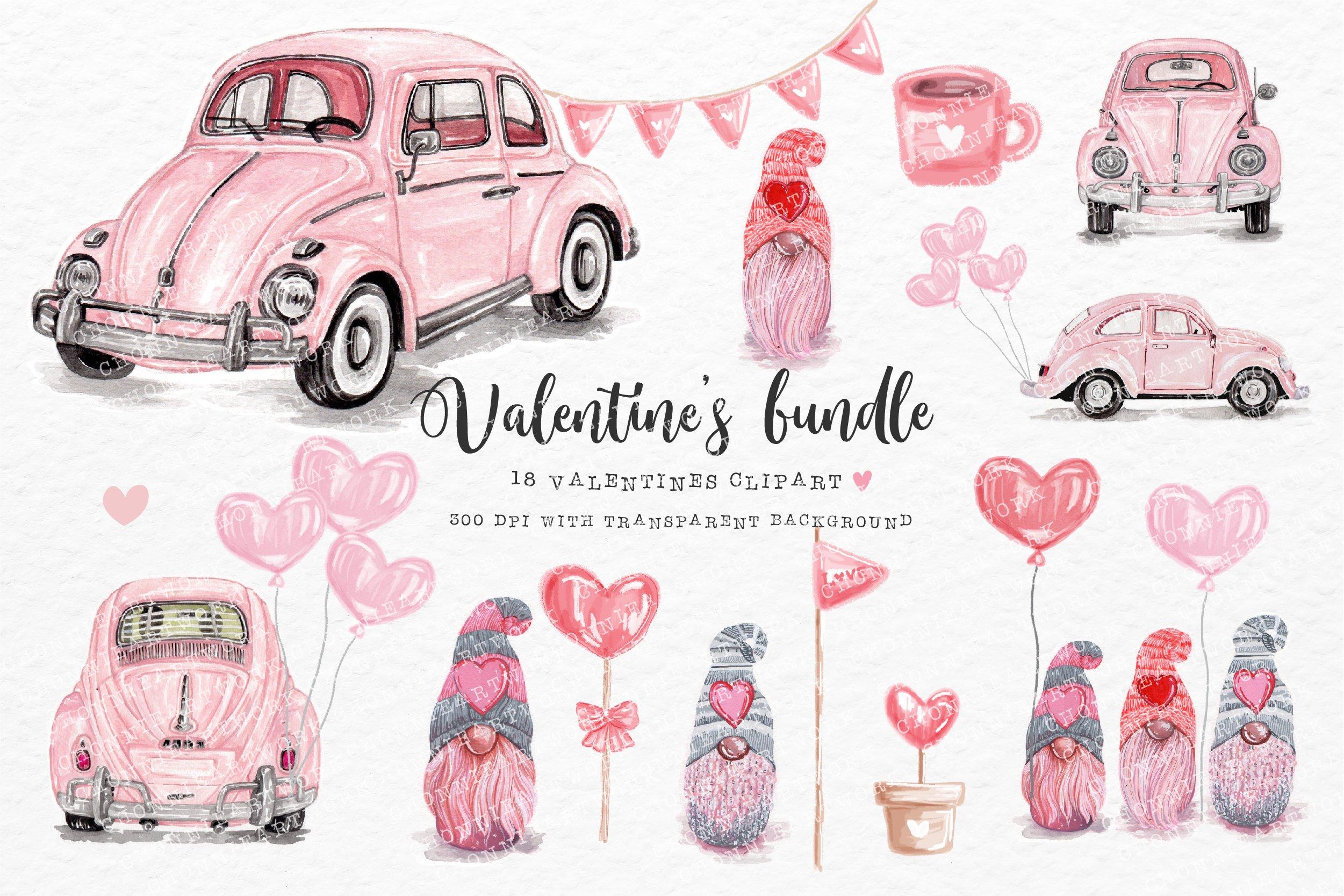 Download Valentine S Day Bundle With Pink Volkswagen Beetle 1154070 Illustrations Design Bundles