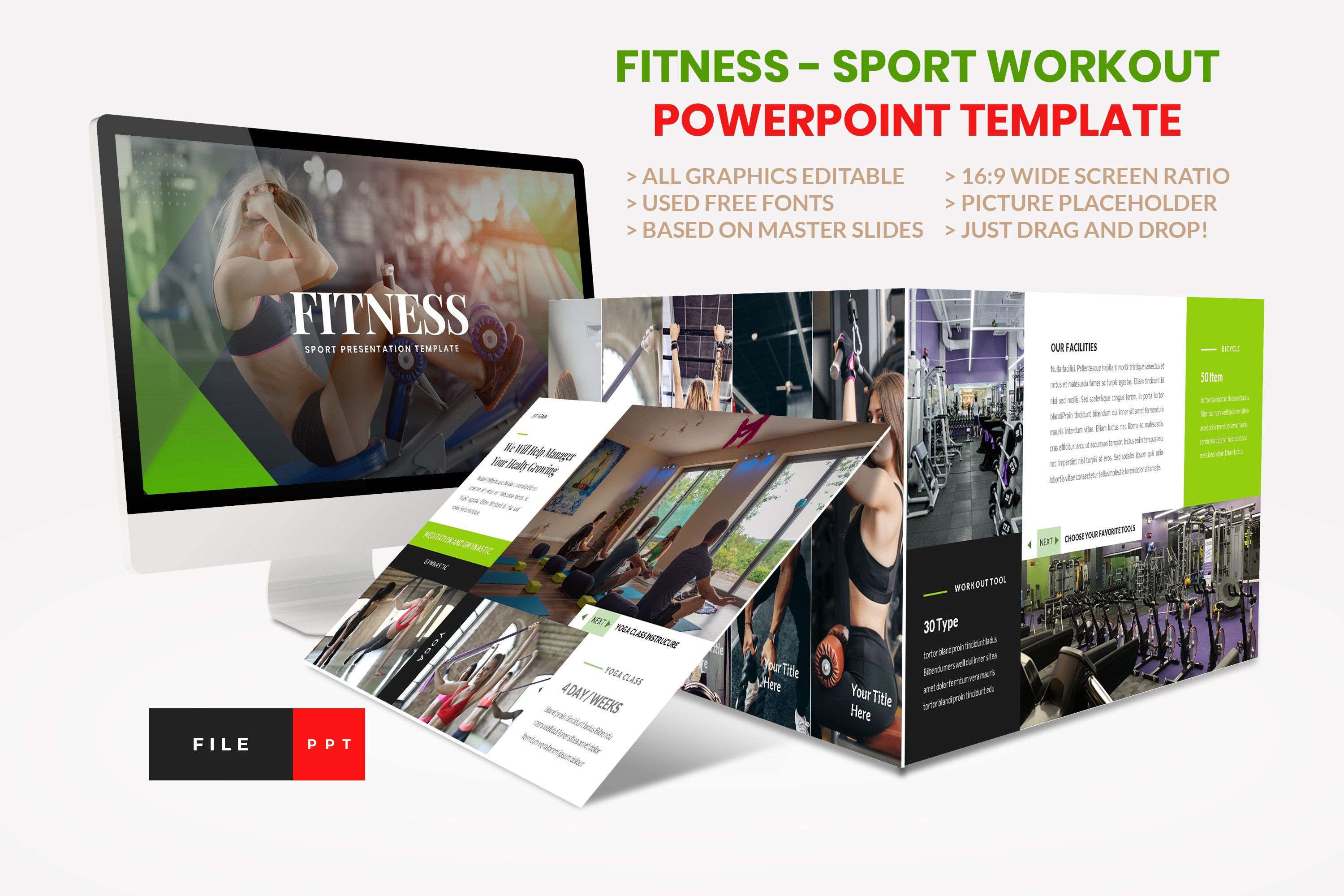 Sport - Fitness Business Workout PowerPoint Template example image 1