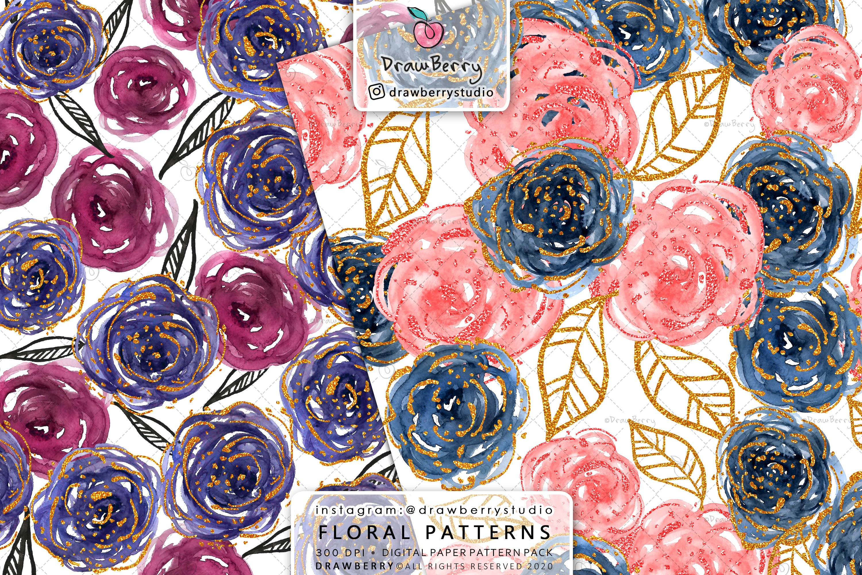 Watercolor Rose Digital Paper Pack example image 5