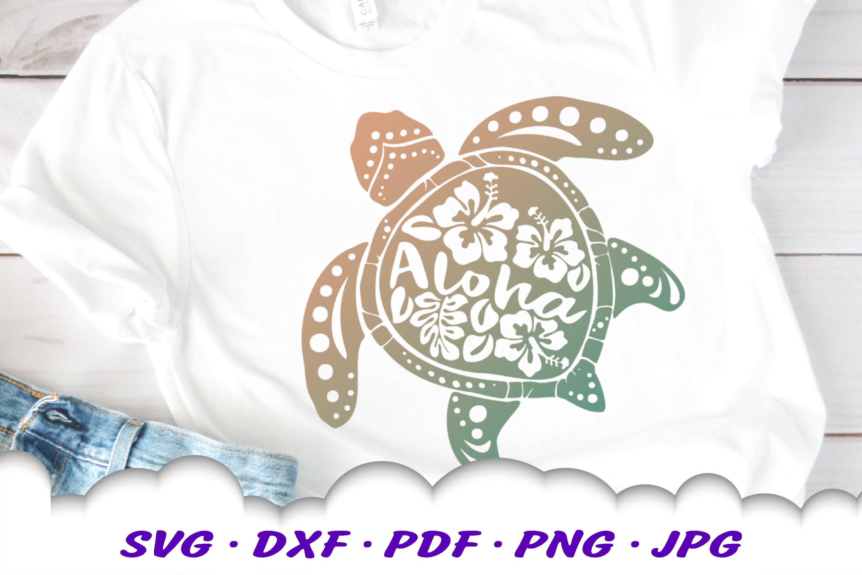 Hawaii Hibiscus Sea Turtle SVG DXF Cut Files Bundle example image 8