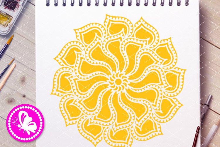 Yellow flower Mandala svg Floral wall art Lotus Sunflower example image 1