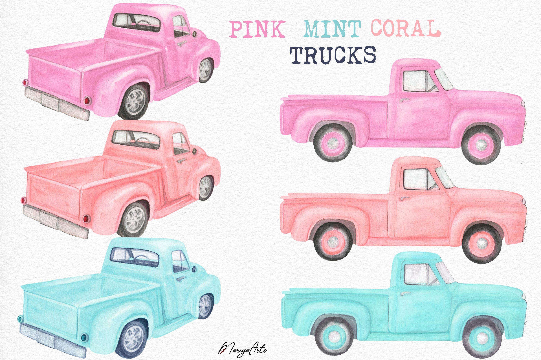 Download Pink Mint Coral Watercolor Truck Clipart Vintage Pick Up 868451 Illustrations Design Bundles