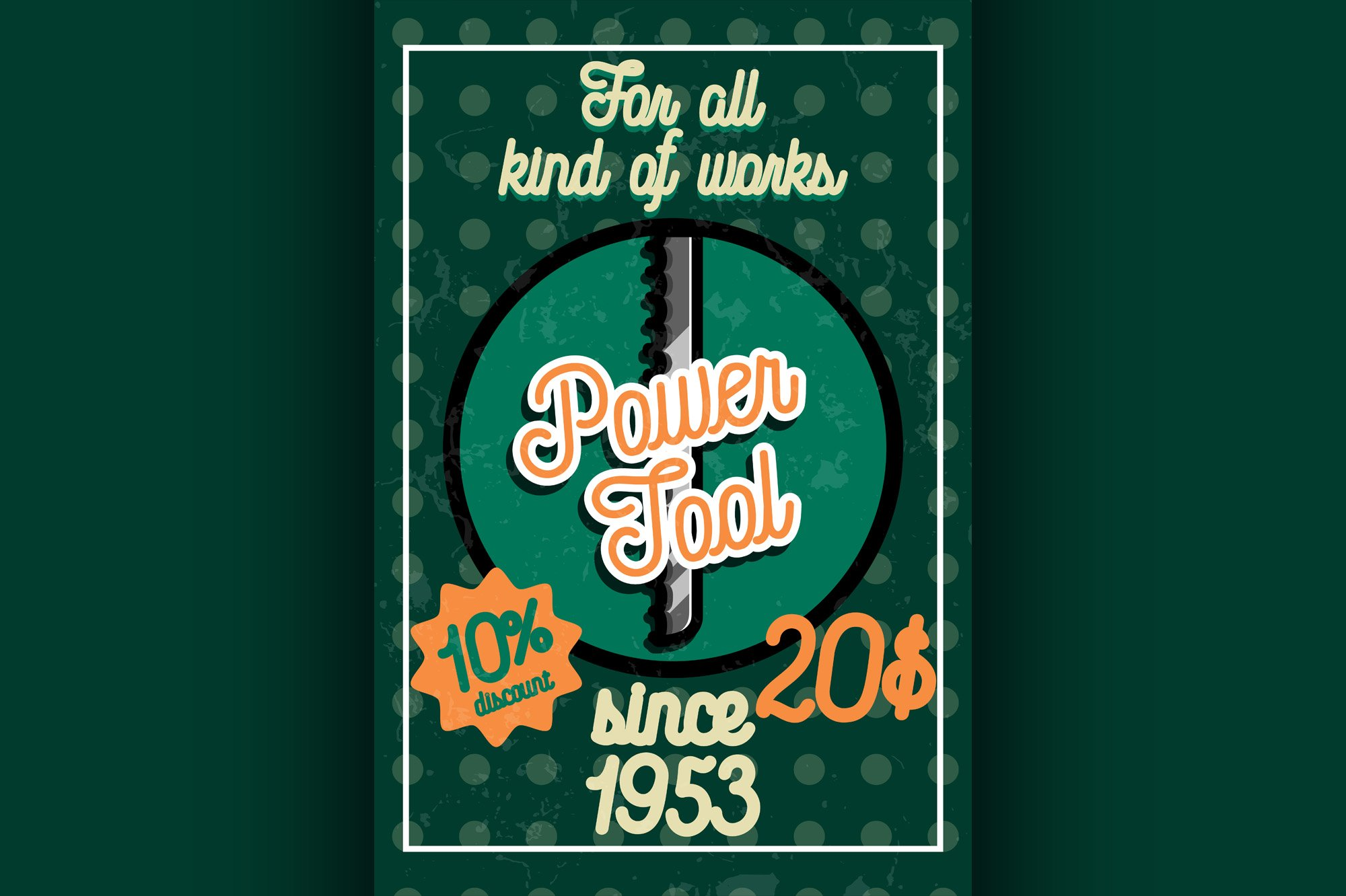 Color vintage power tools store poster example image 1