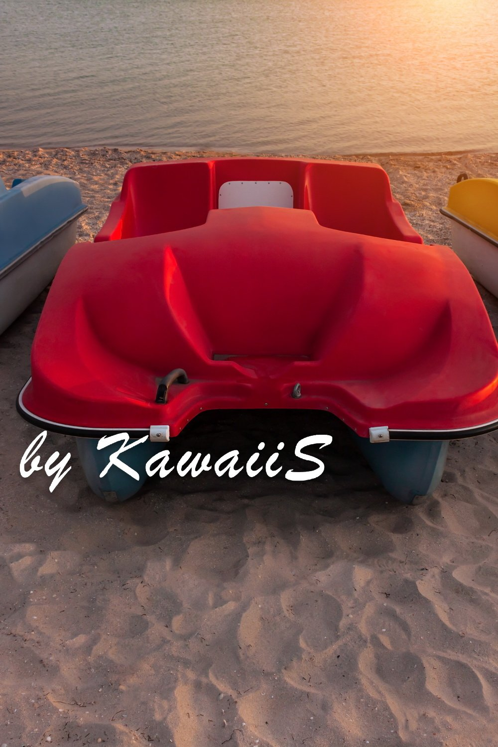 Colorful catamarans pedal boats on the sunset on a sea beach example image 8