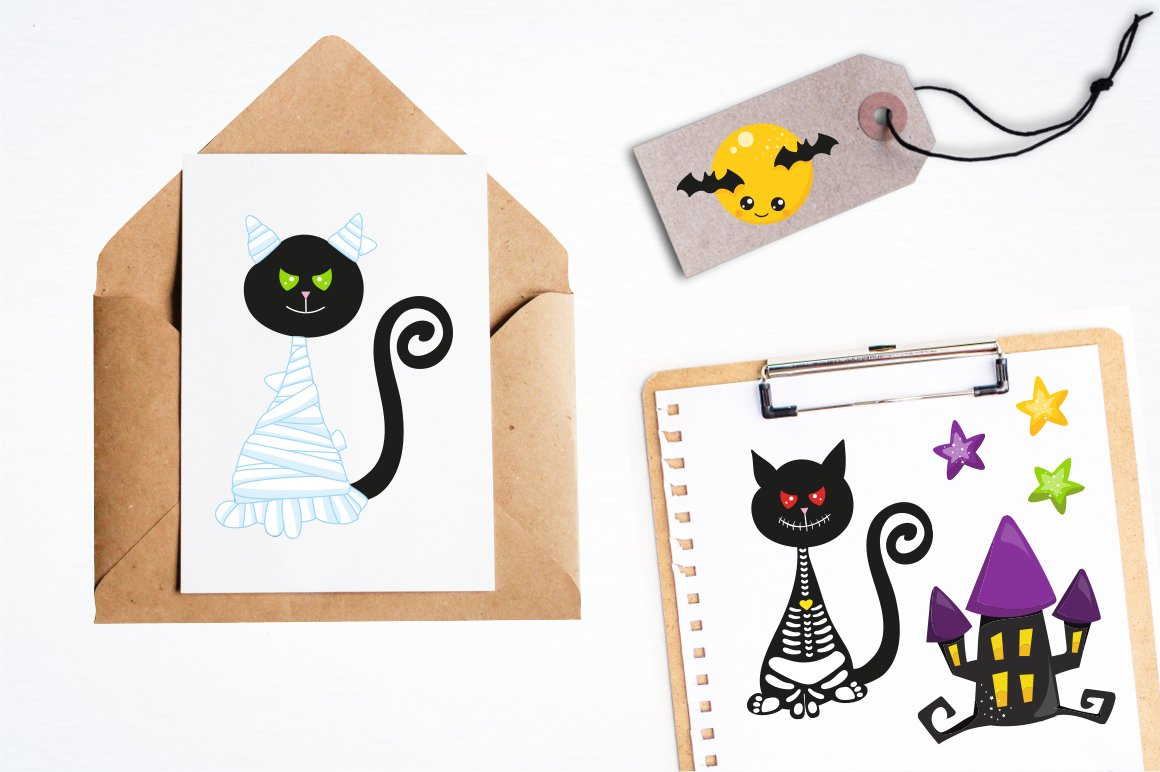 Halloween Cats Graphics and illustrations, vecto example image 4