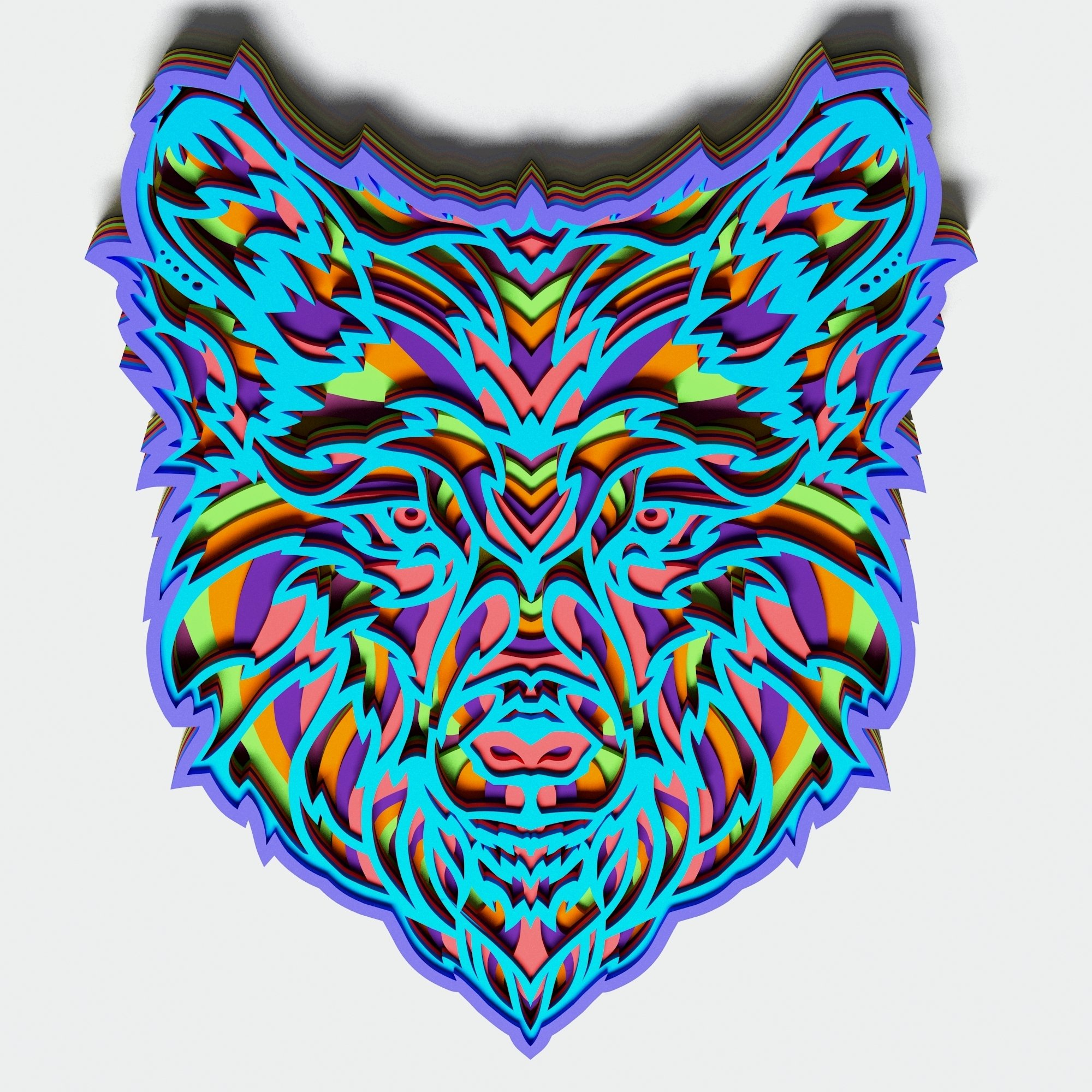 Multilayer Wolf Mandala, Vector file for cutting example image 4