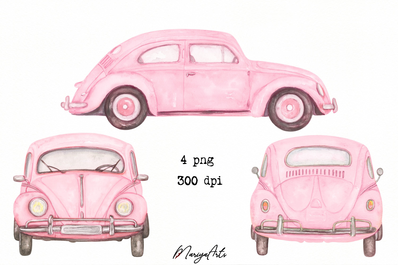 Download Pink Car Clipart Vintage Beetle Car Hand Painted Watercolor 752525 Illustrations Design Bundles