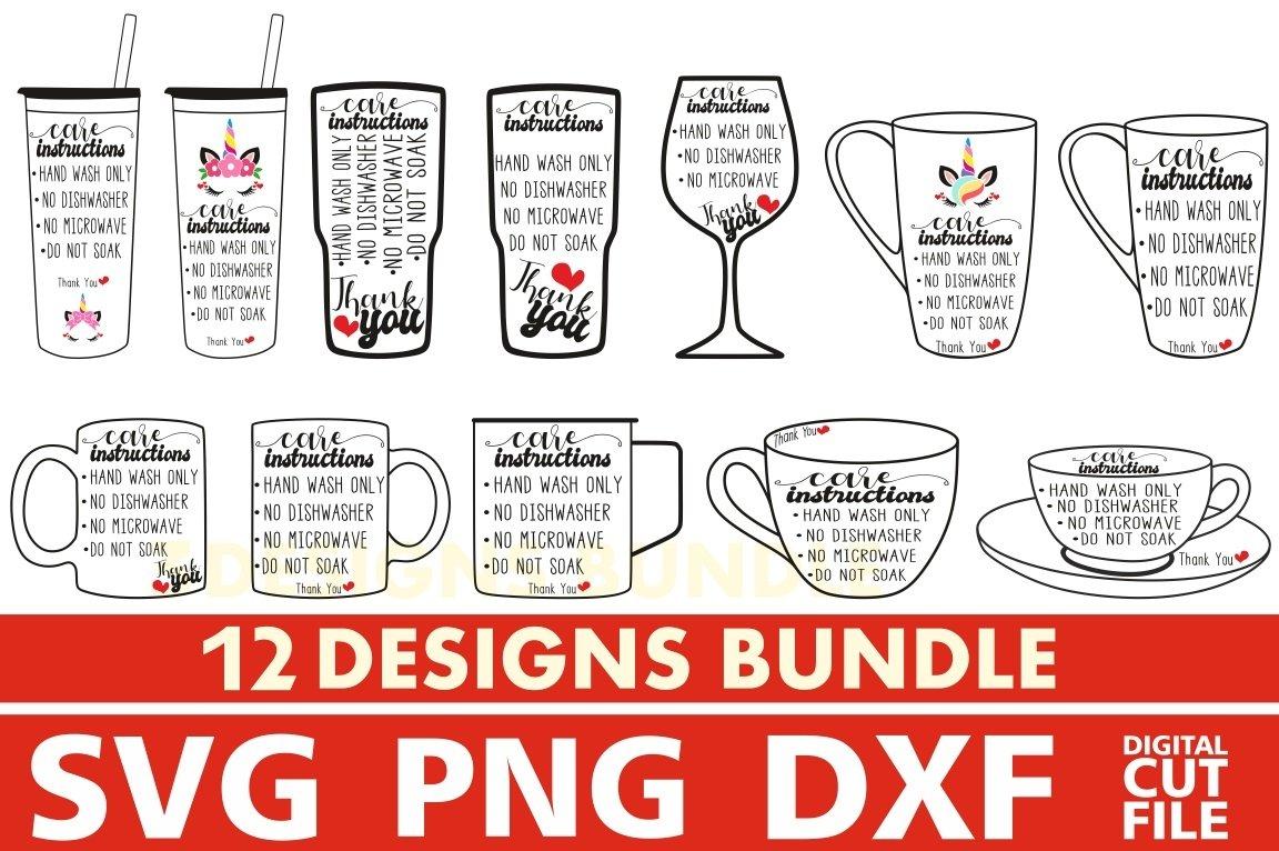 12x Cup Care Instructions Bundle Svg Label Svg Wine Glass 576171 Cut Files Design Bundles