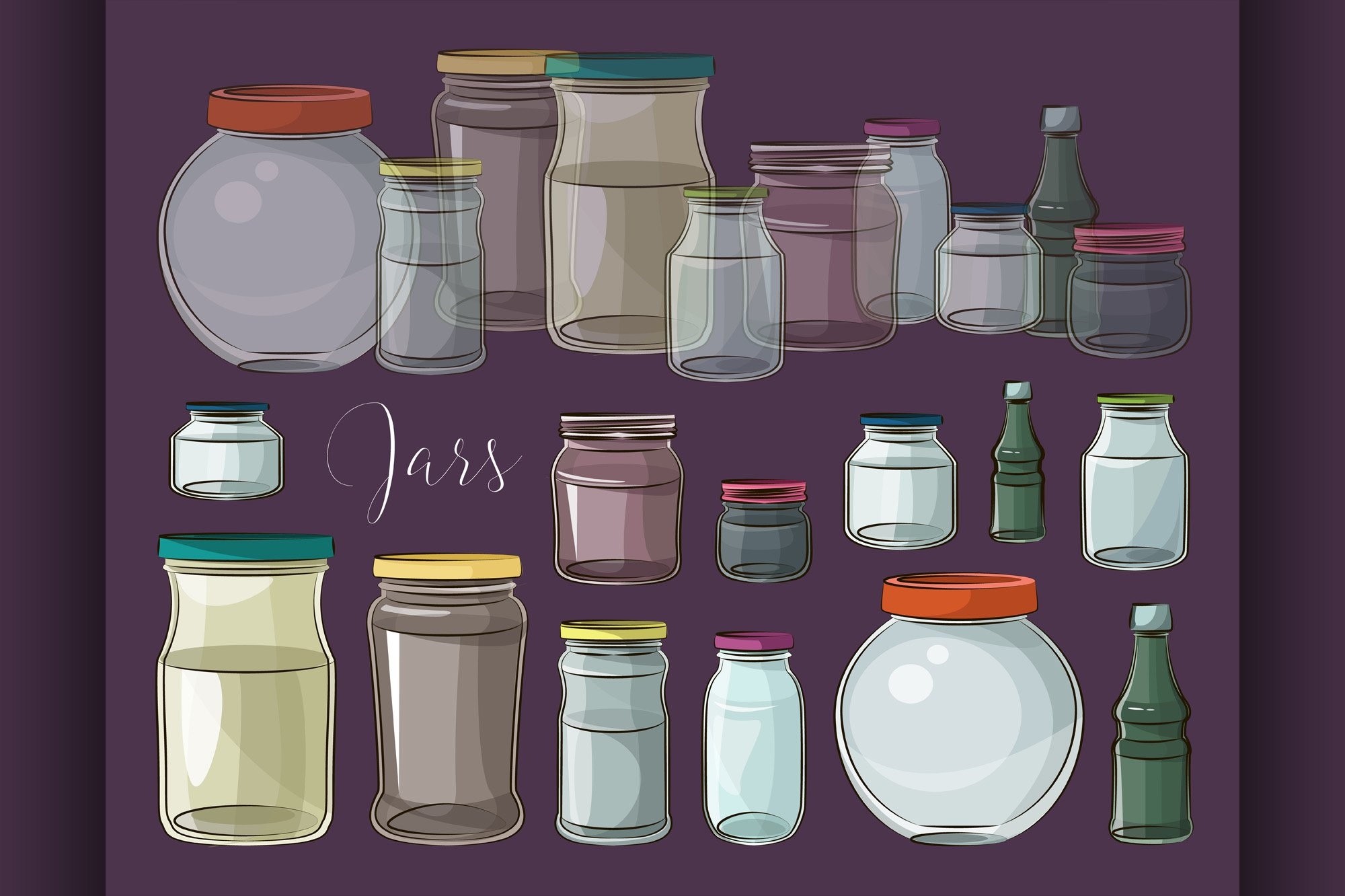 Set of empty jars example image 1