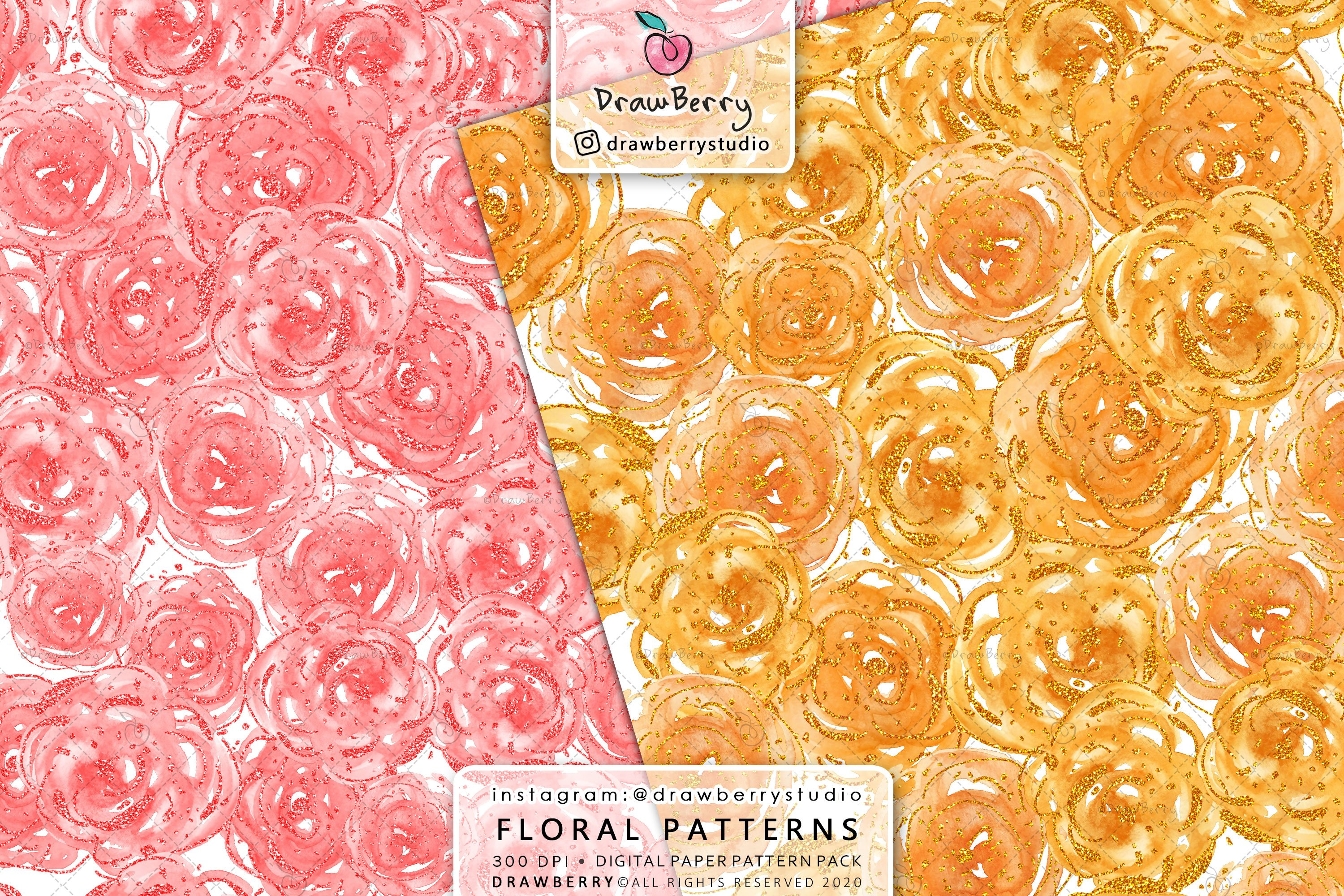 Watercolor Floral Pattern Pack example image 4