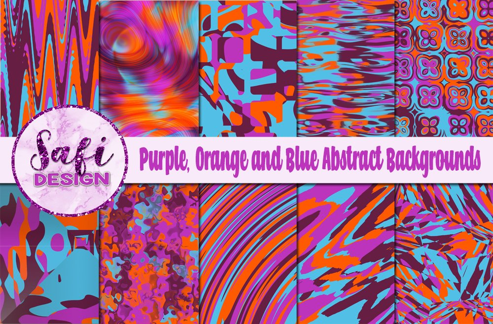 Purple, Orange and BlueAbstract Backgrounds example image 1