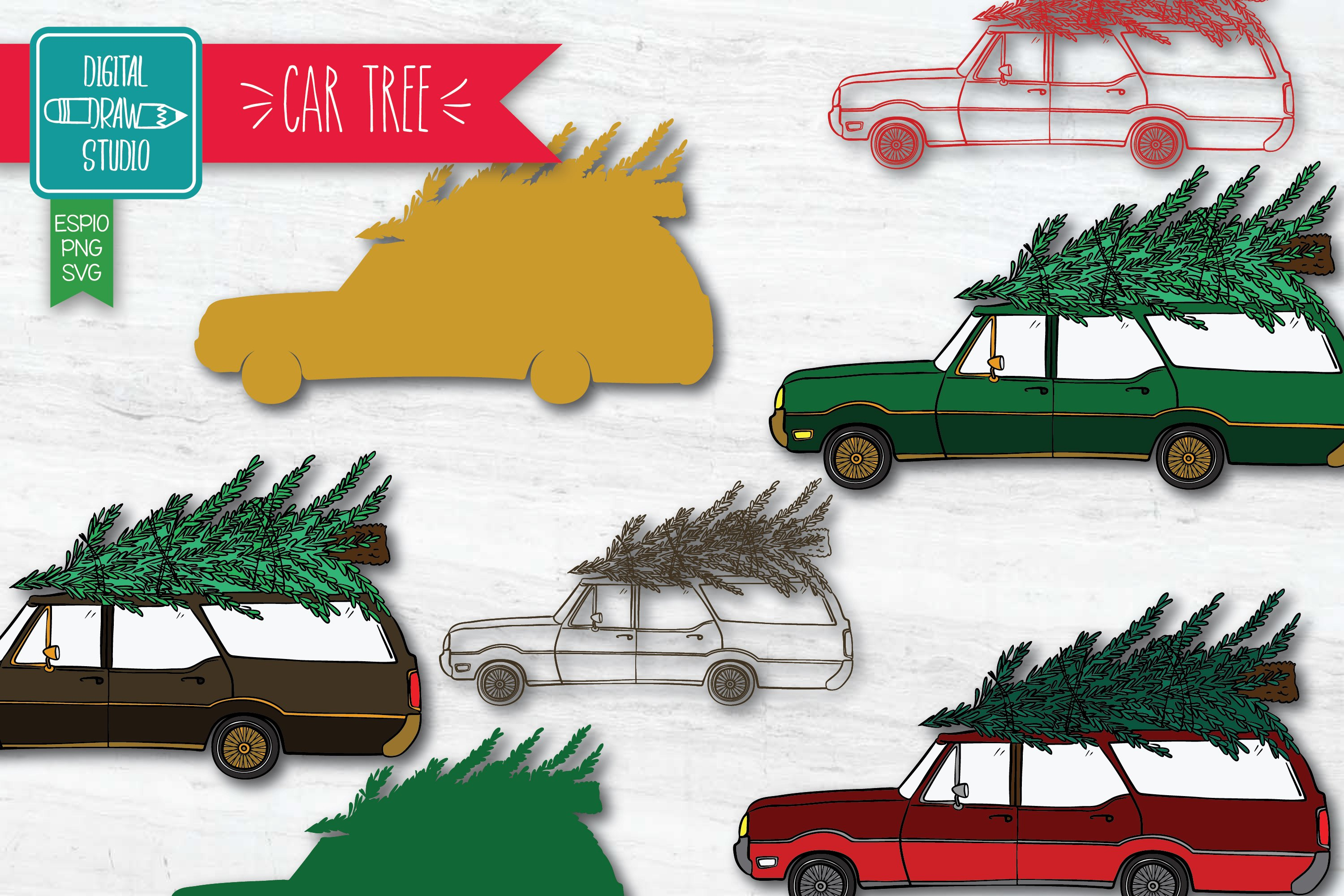 Color Station Wagon Car Christmas | Tree on Roof Top Holiday example image 1