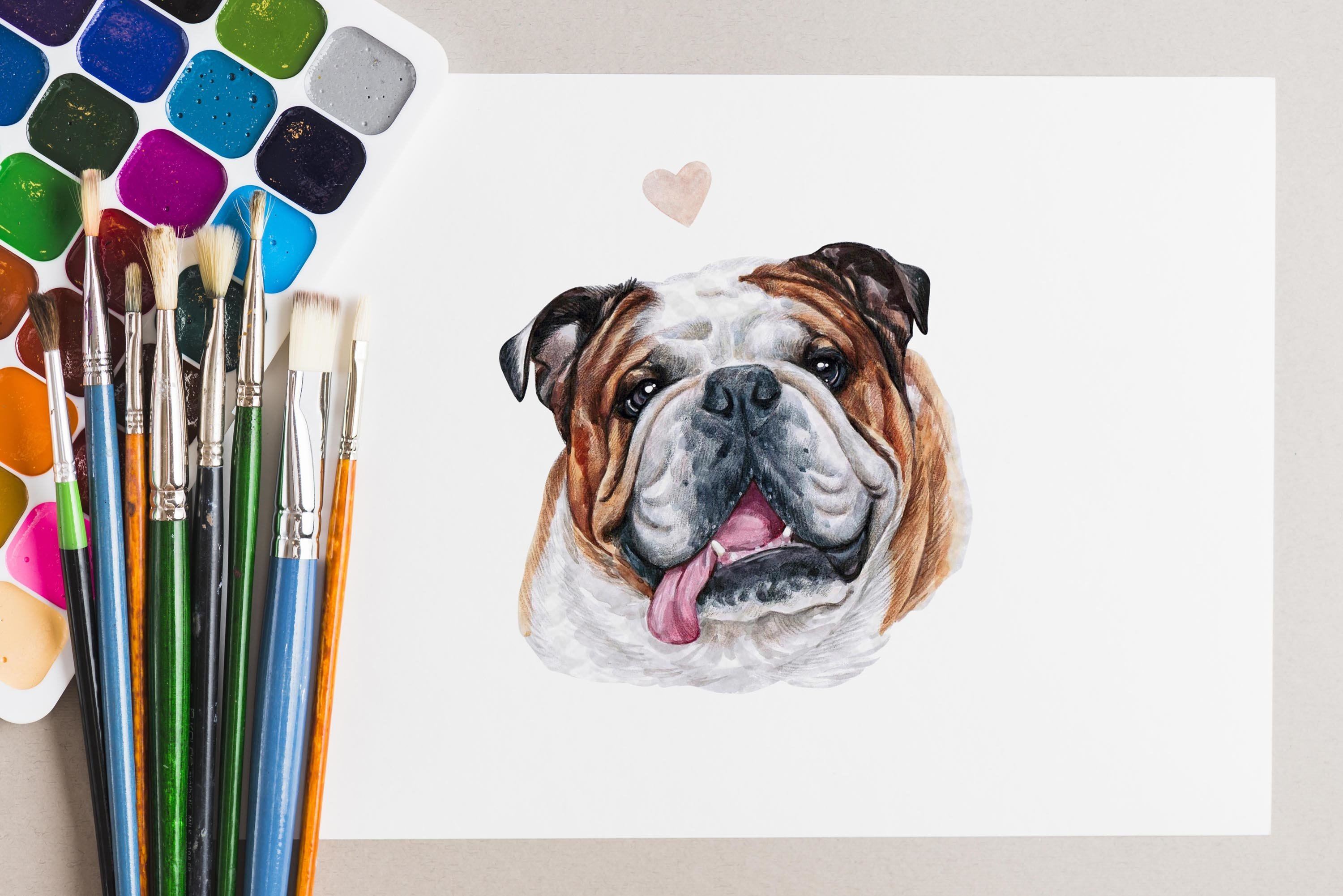PART 1. Watercolor illustration set DOG breeds. Cute 20 dogs example image 7