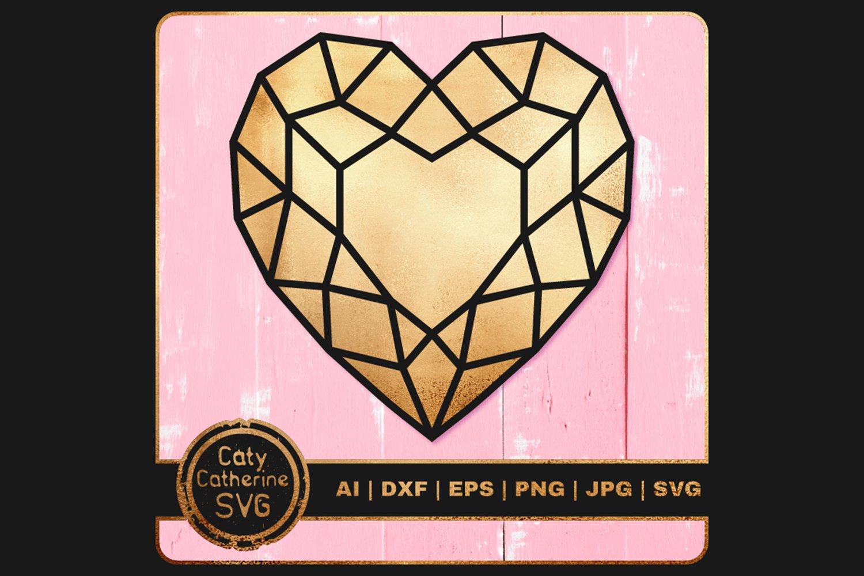 Download Gemstone Diamond Love Heart Outline Svg Cut File 1082961 Cut Files Design Bundles