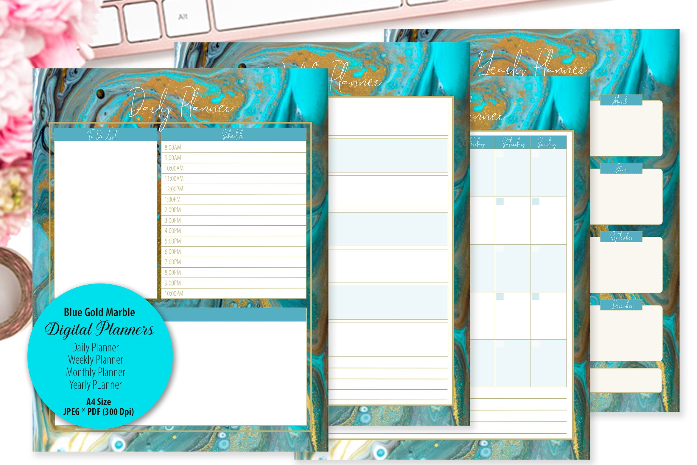 Blue Gold Marble Digital Planner example image 1