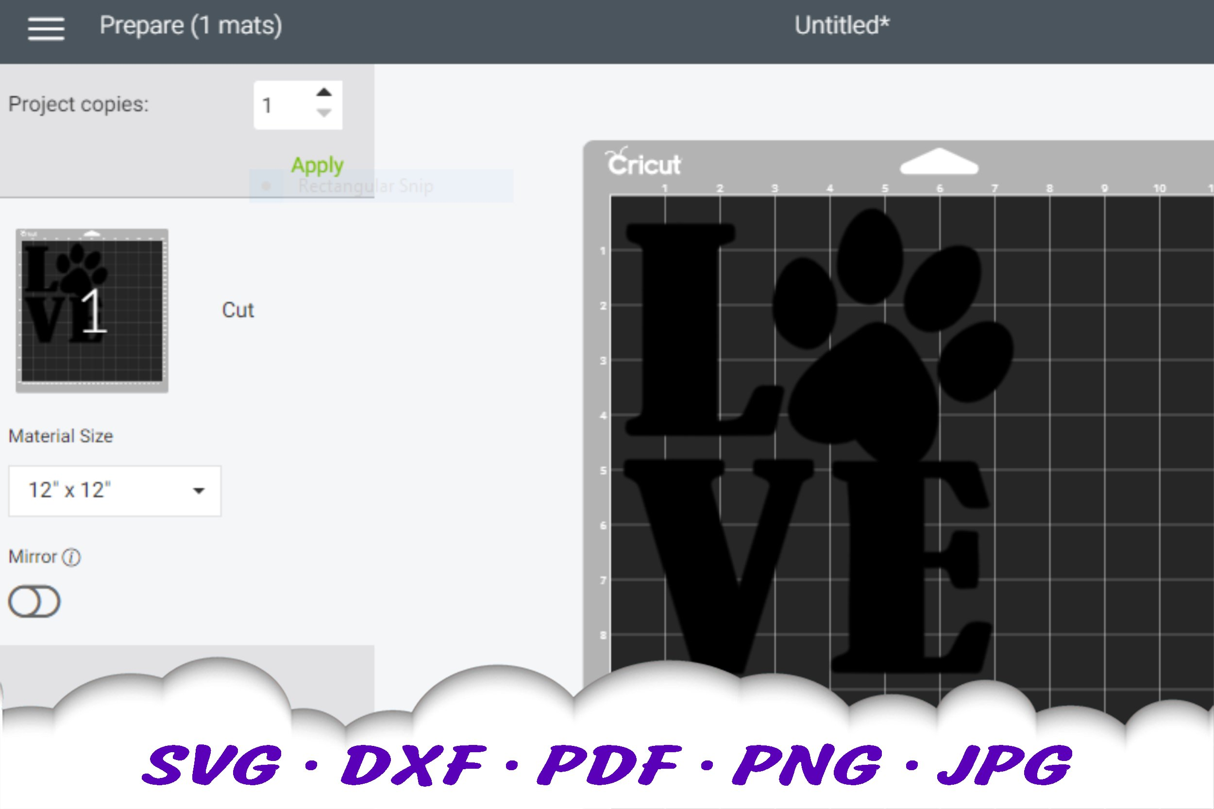 Dog Mom Paw Print Love SVG DXF Cut Files example image 2