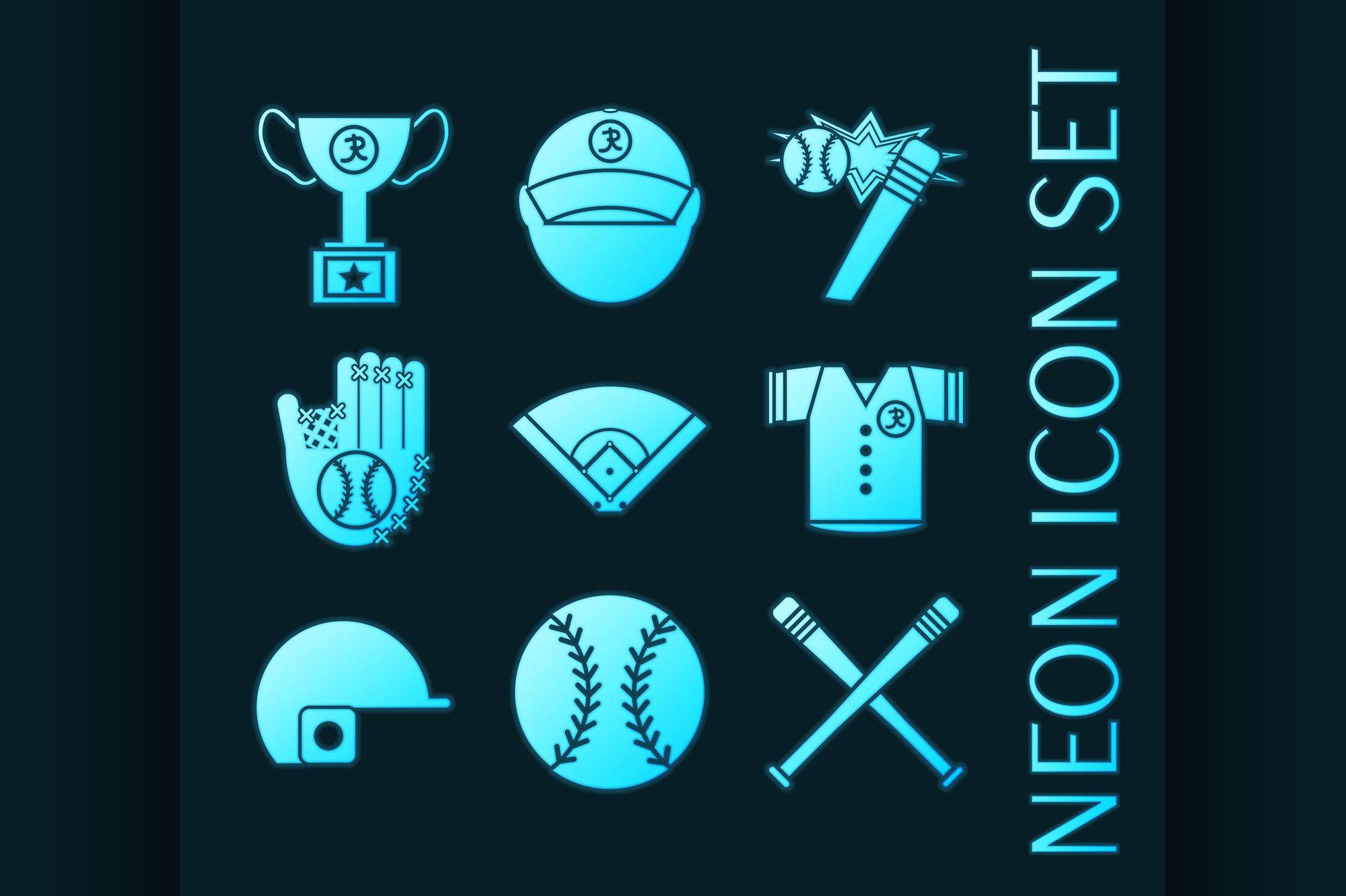 Set of Baseball glowing neon style icons example image 1