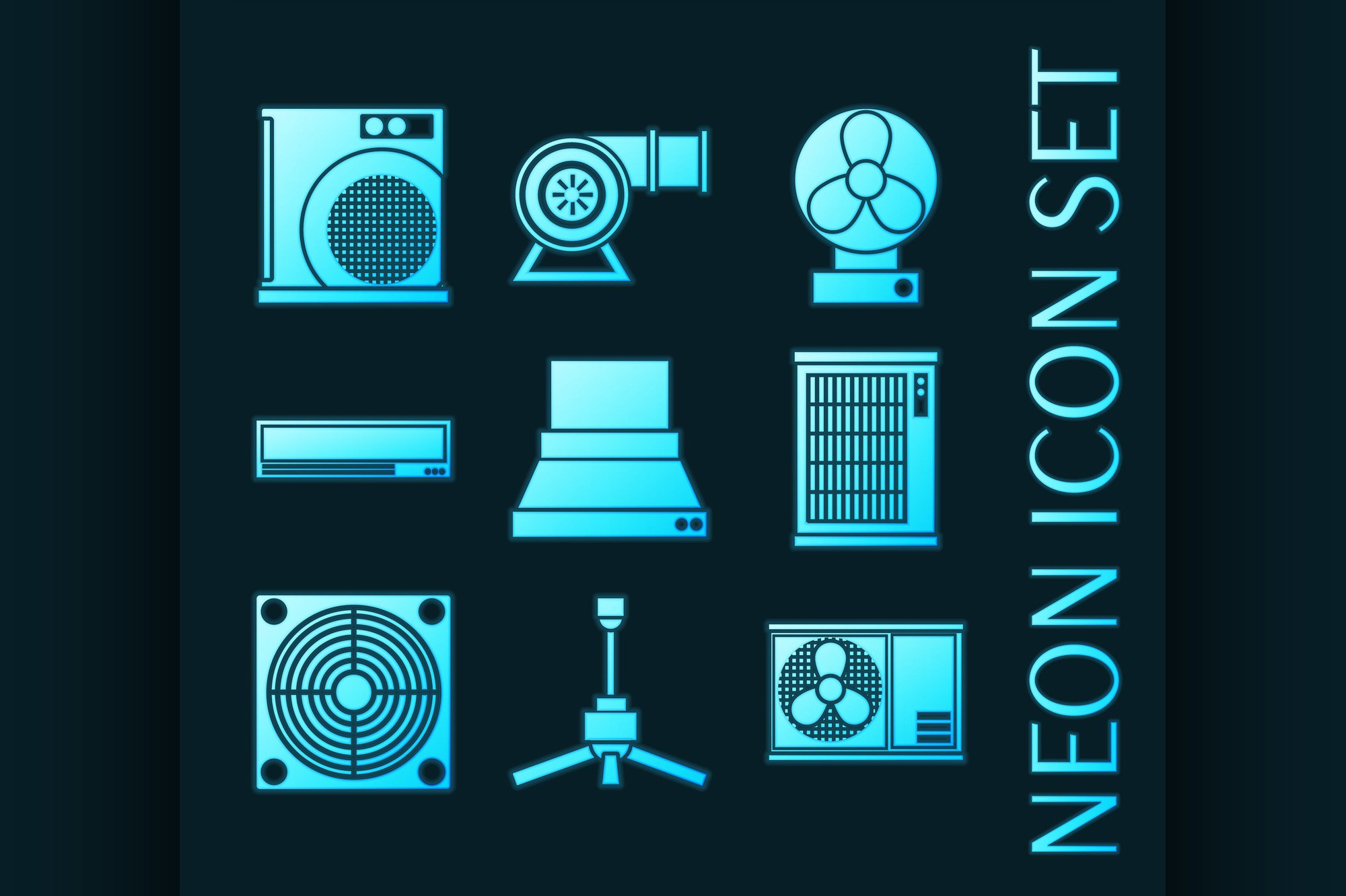 Set of Conditioning system glowing neon icons. example image 1