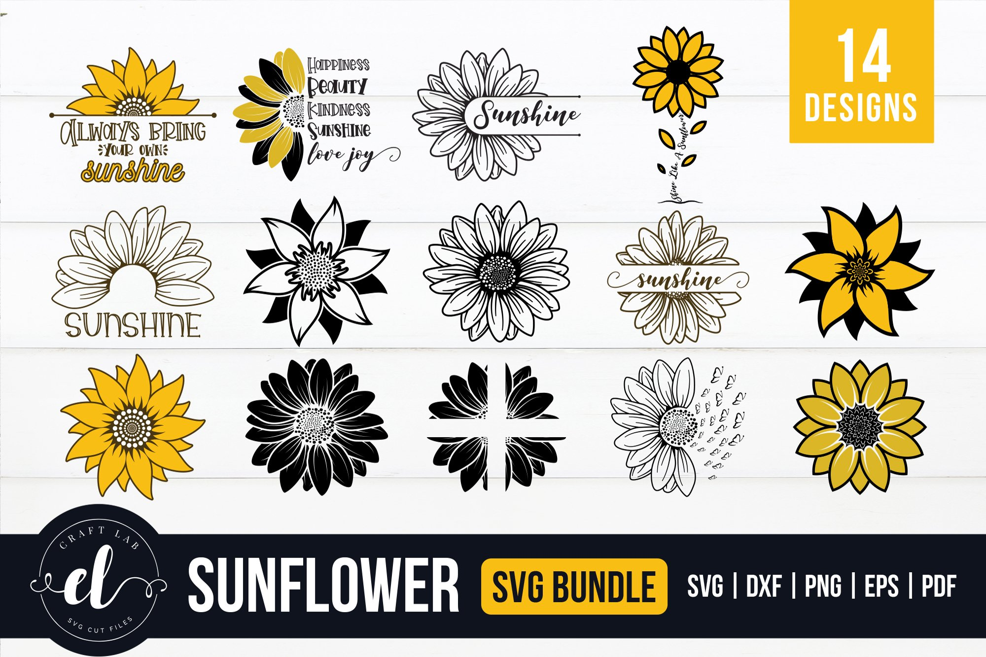 Sunflower SVG, Sunflower SVG Bundle, Sunflower SVG Cut Files example image 1