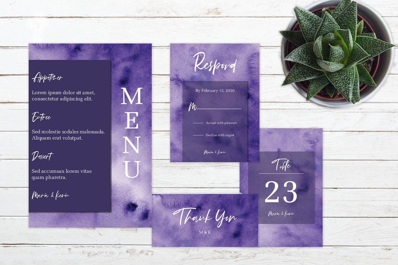 Abstract Deep Purple Watercolor Wedding Invitation Set example image 2