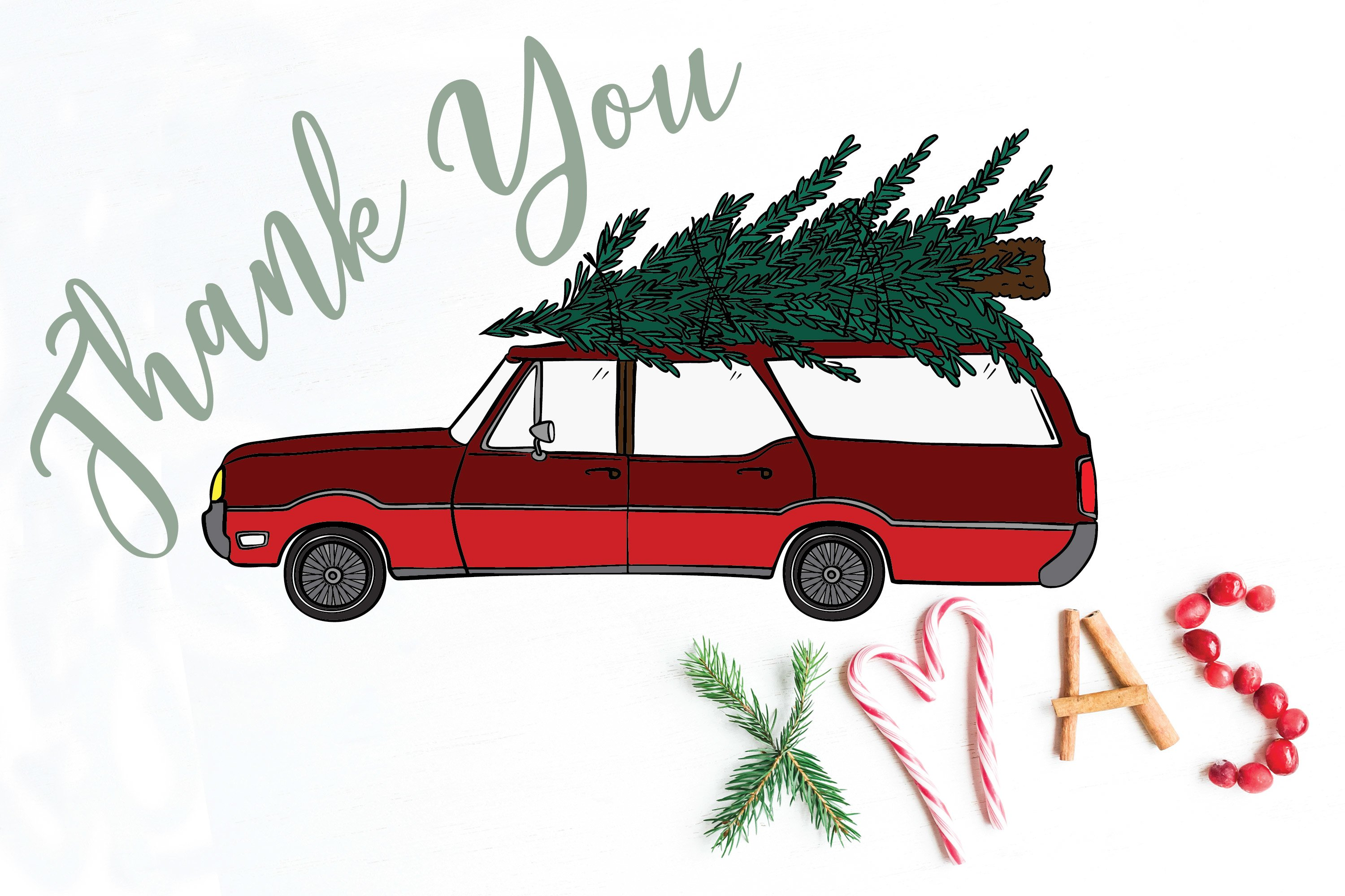 Color Station Wagon Car Christmas | Tree on Roof Top Holiday example image 14