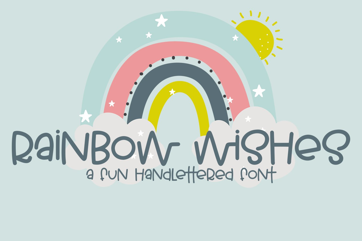 Rainbow Wishes - A Fun Handlettered Font example image 1