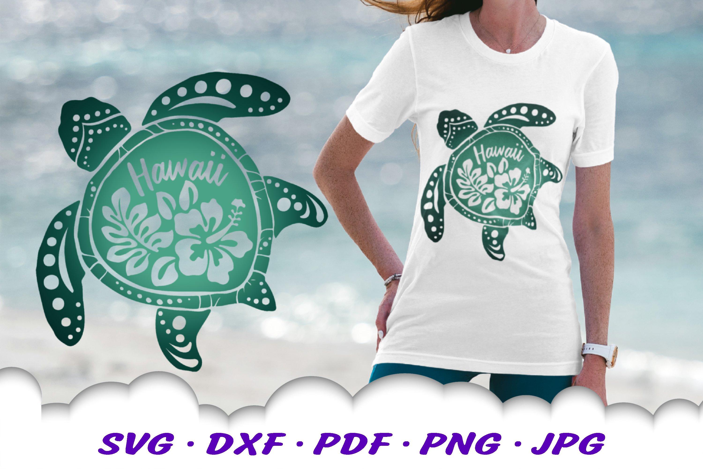 Hawaii Hibiscus Sea Turtle SVG DXF Cut Files Bundle example image 3